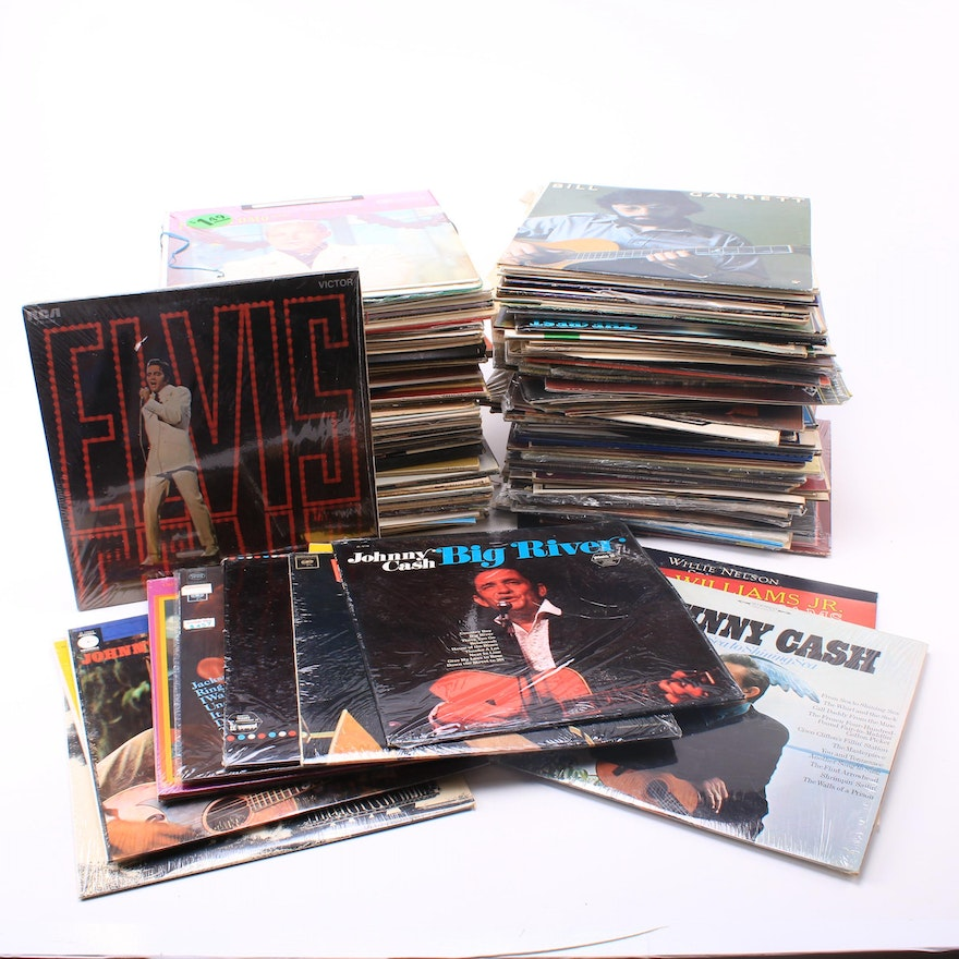 Vinyl Records Featuring Johnny Cash, Hank Williams Jr and Elvis, Vintage