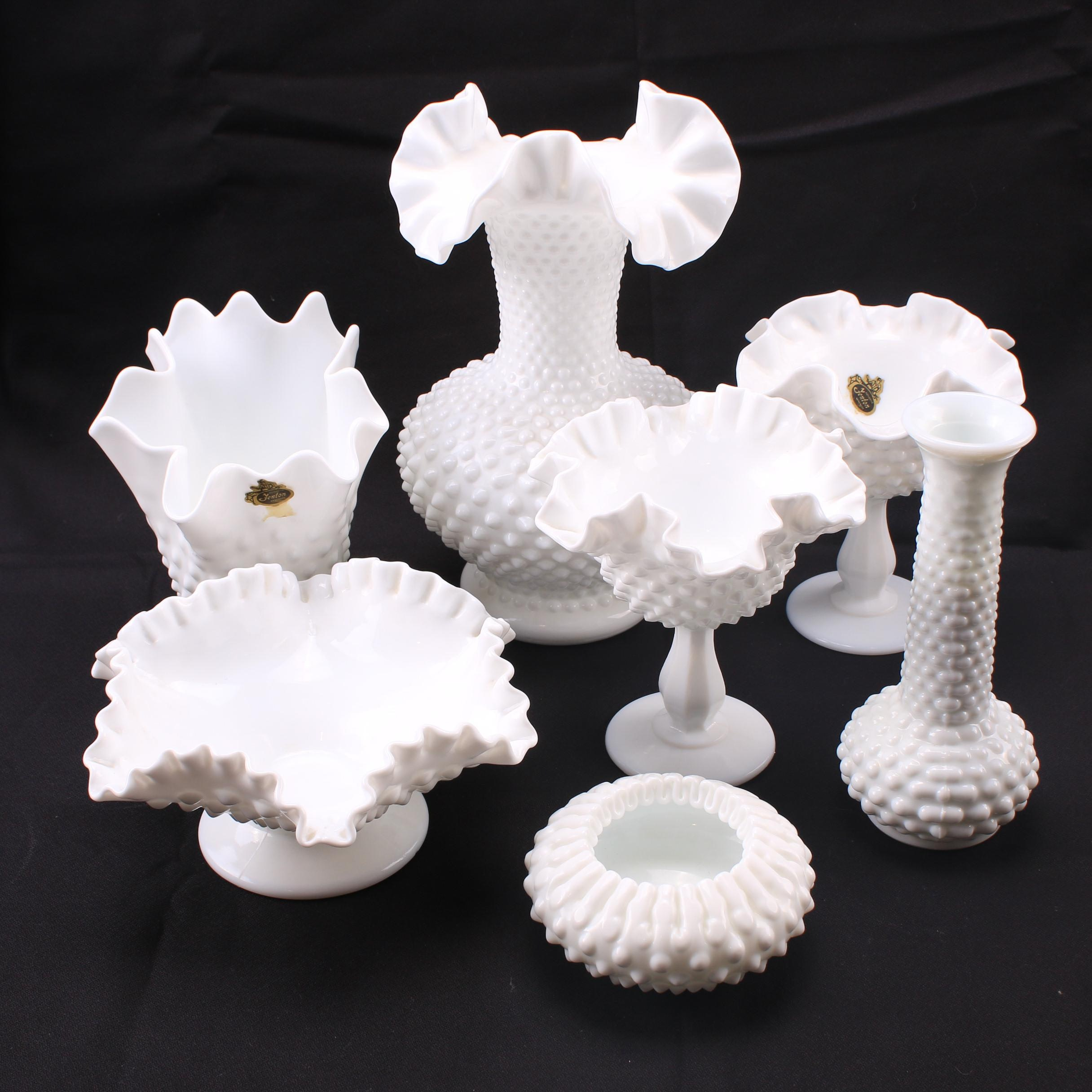 Fenton Hobnail Milk Glass Vases and Dishes, Vintage