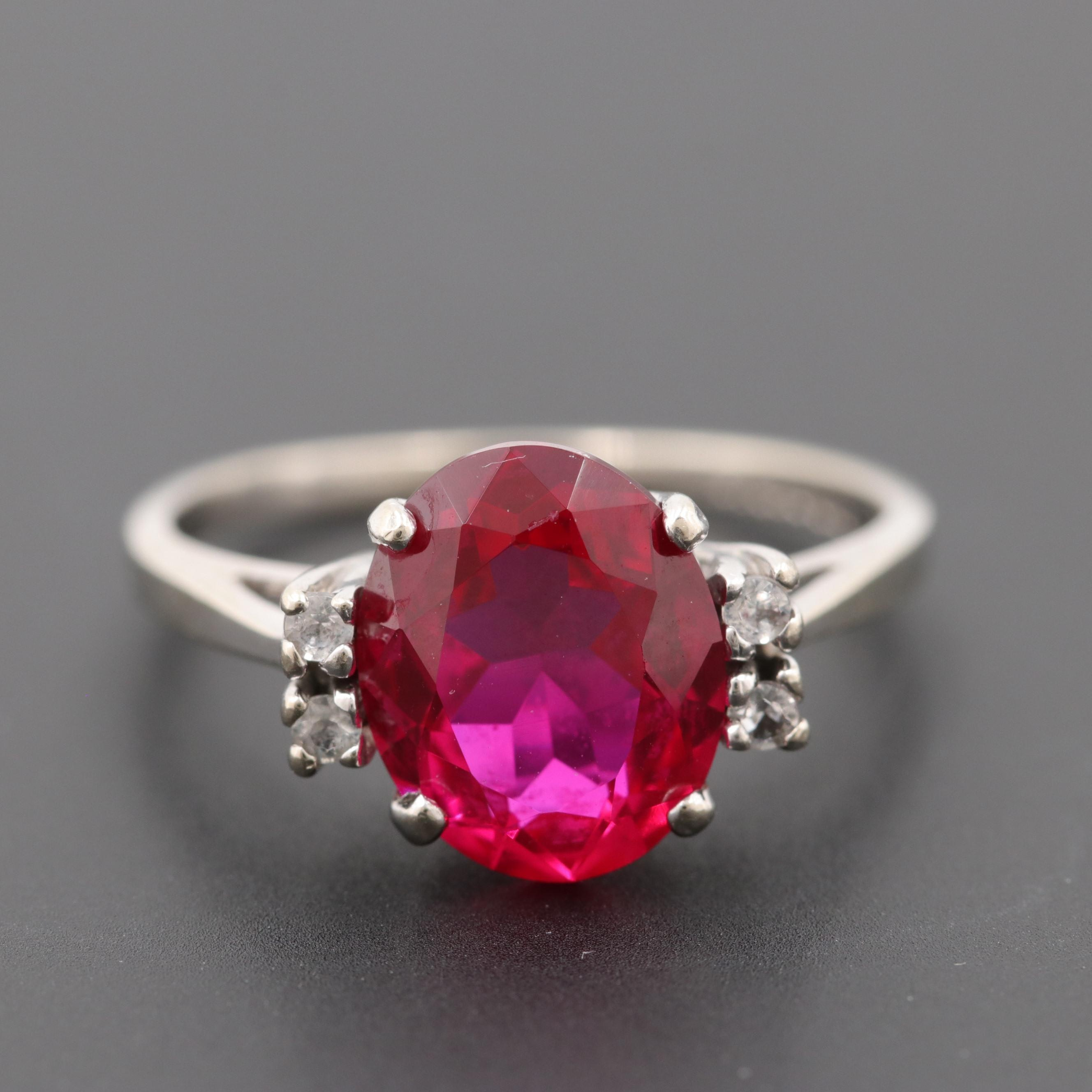 10K White Gold Synthetic Ruby and Synthetic Spinel Ring