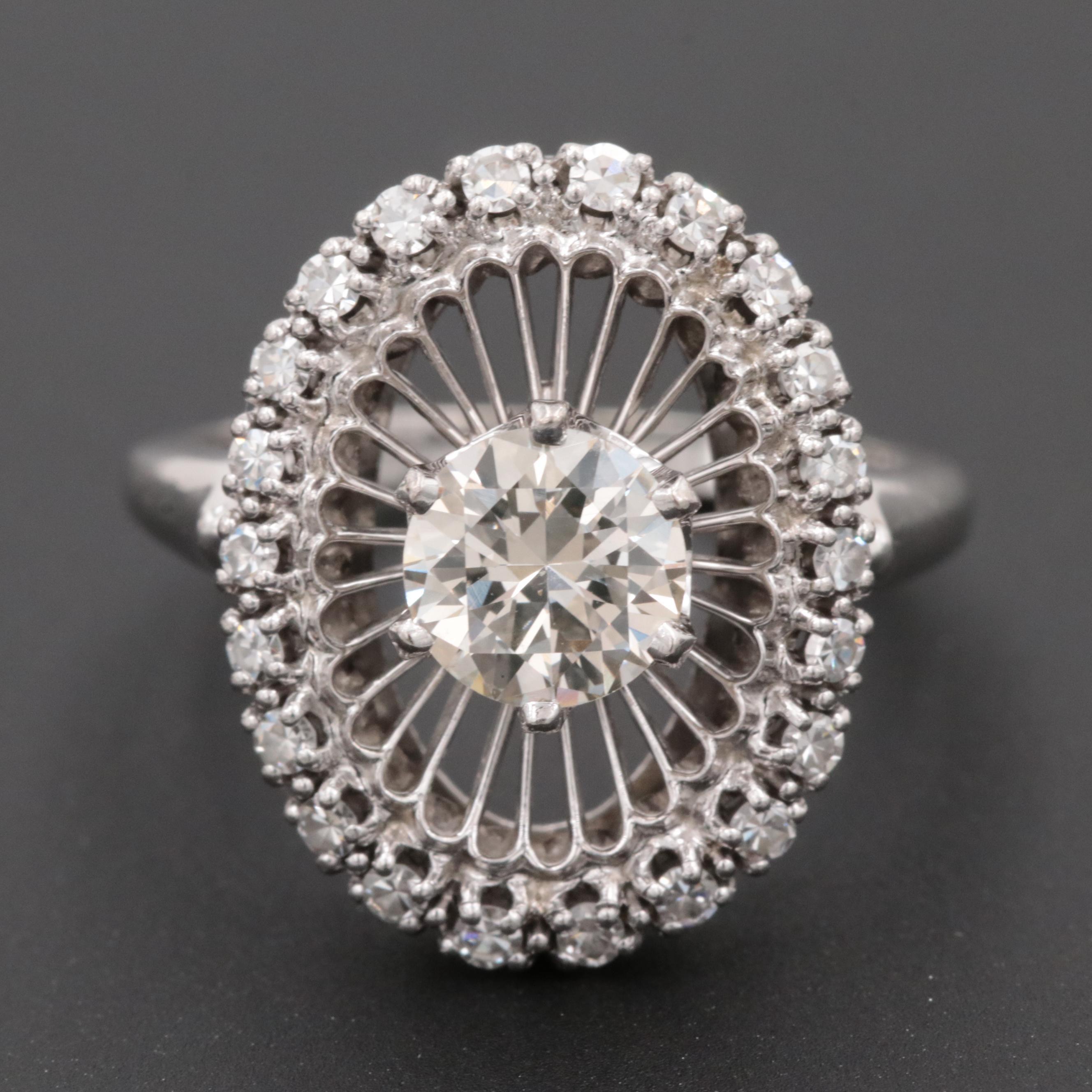 18K White Gold and Palladium Diamond Ring