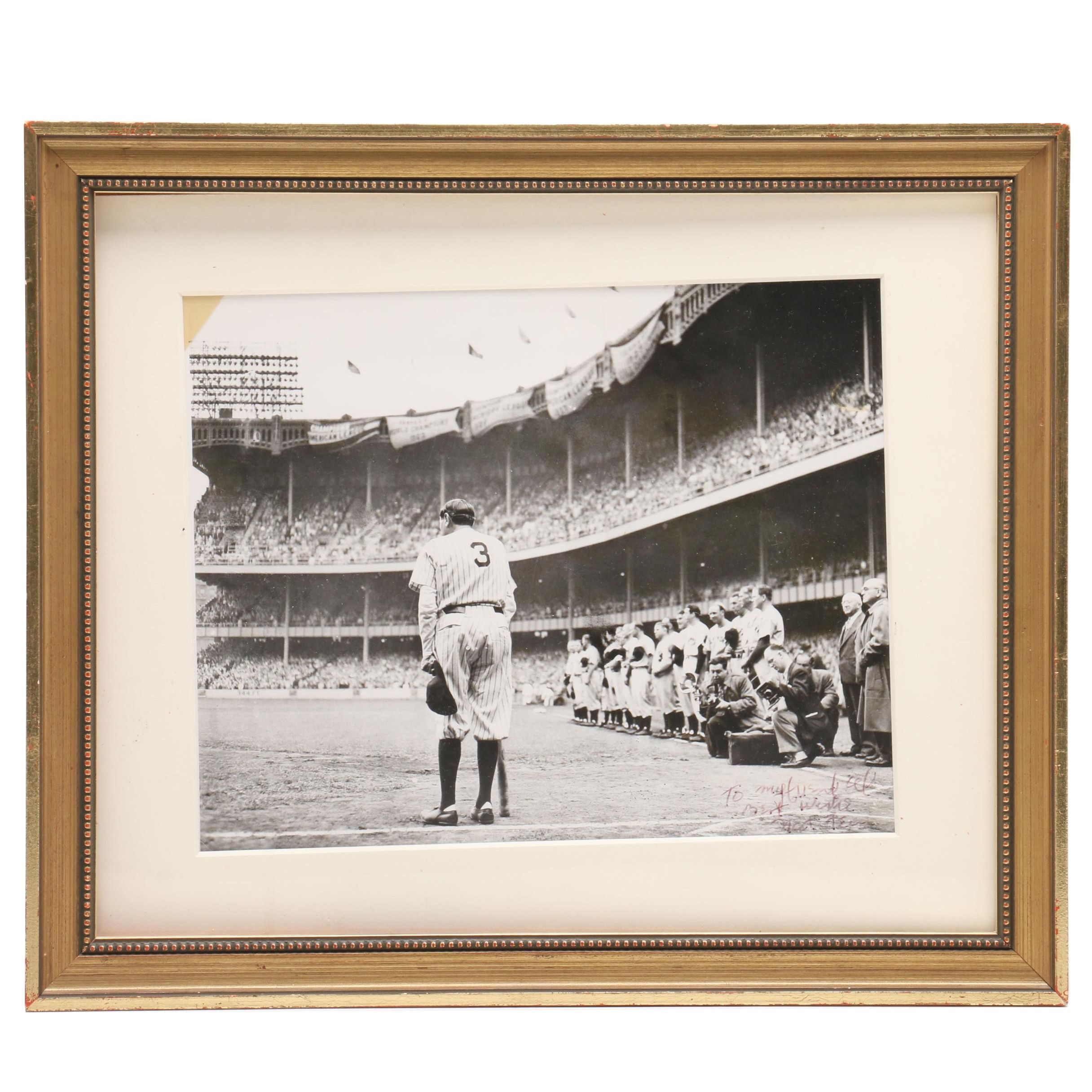 "Important Babe Ruth ""Farewell"" Photo Signed By Nat Fein Original Photographer"