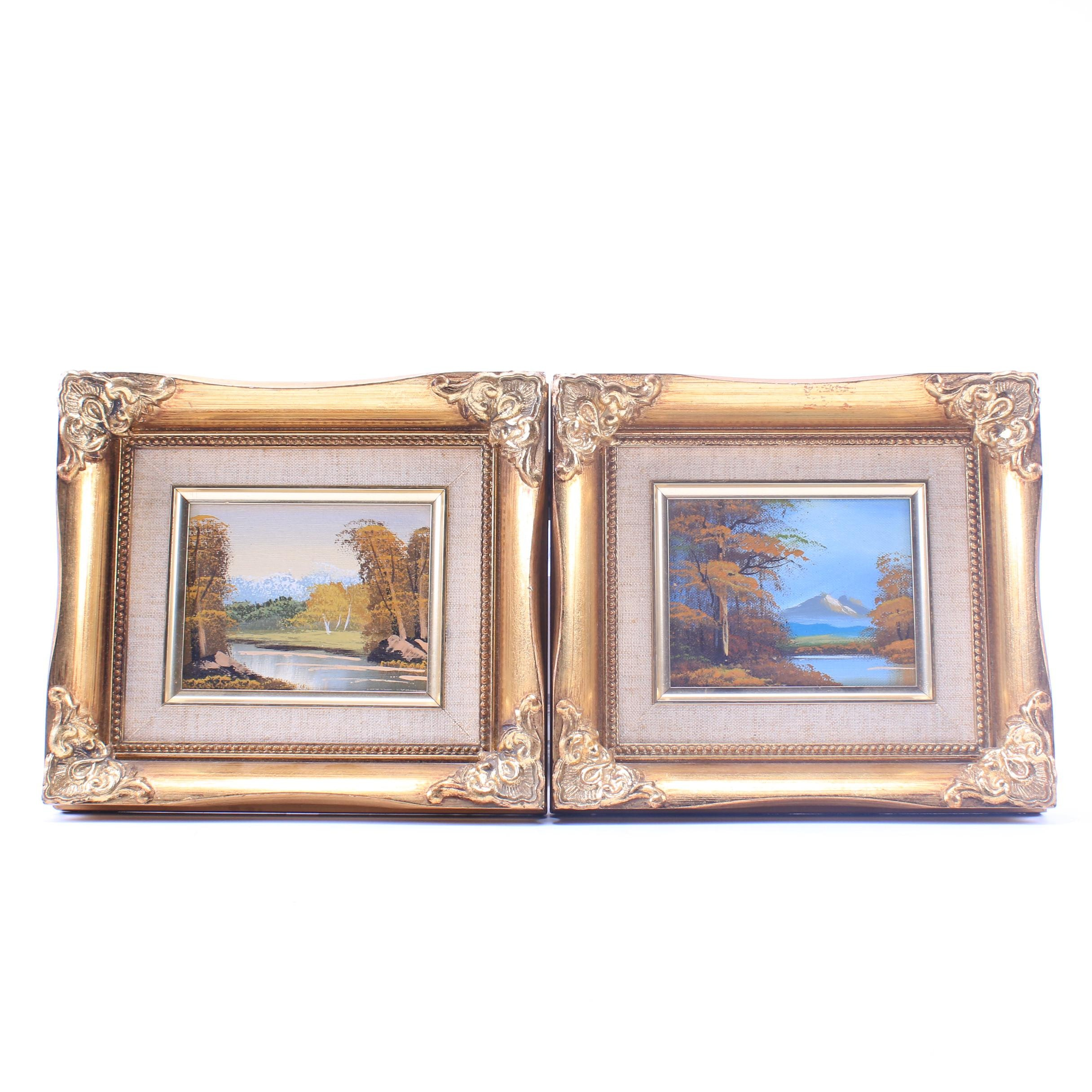Late 20th Century Miniature Landscape Oil Paintings