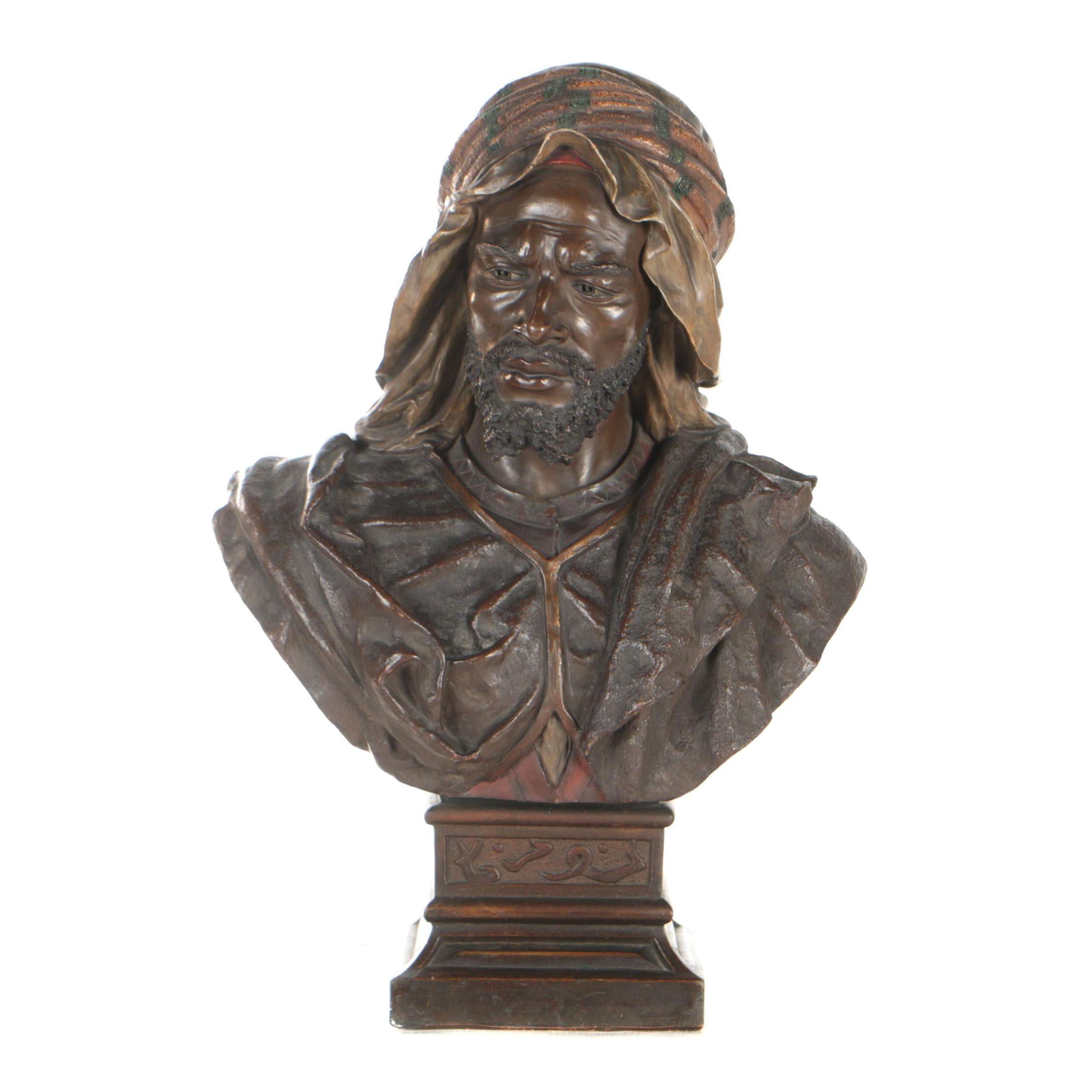 """Joseph le Guluche Terracotta Sculpture """"Buste d'Homme Oriental"""""""