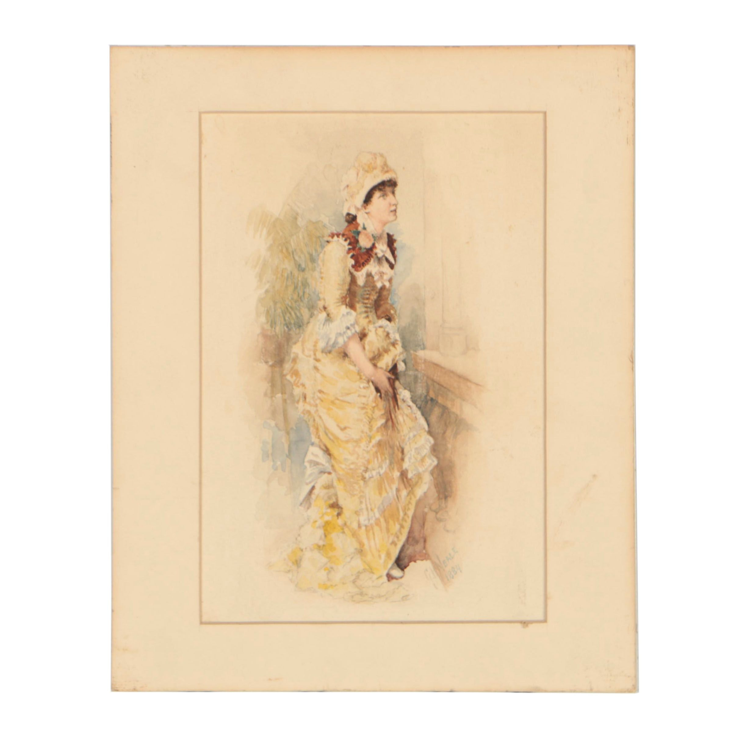 George Hall Neale Watercolor Painting, 1884