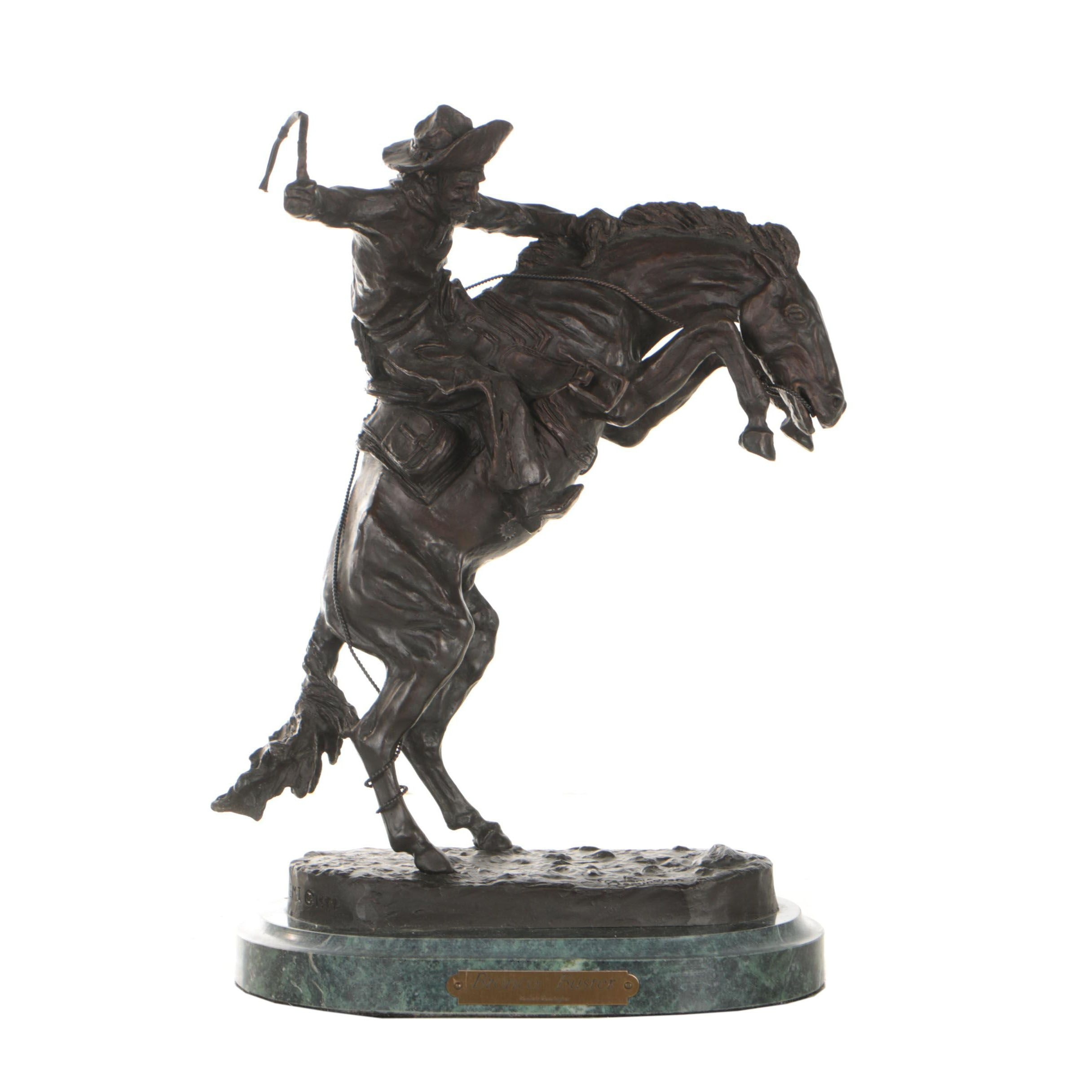 "Bronze Sculpture after Frederic Remington ""Bronco Buster"""