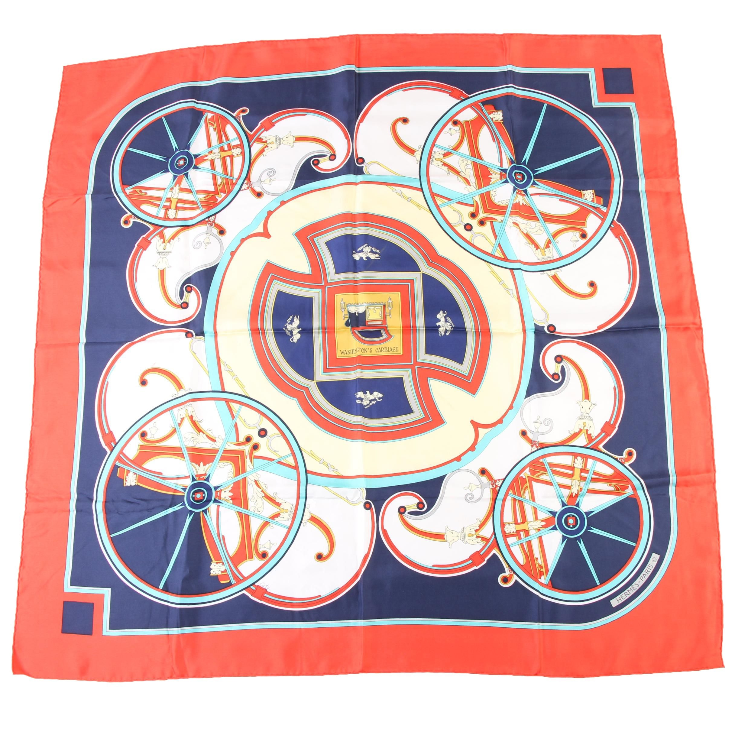 "Hermès Paris ""Washington's Carriage"" Silk Scarf Designed by Caty Latham"
