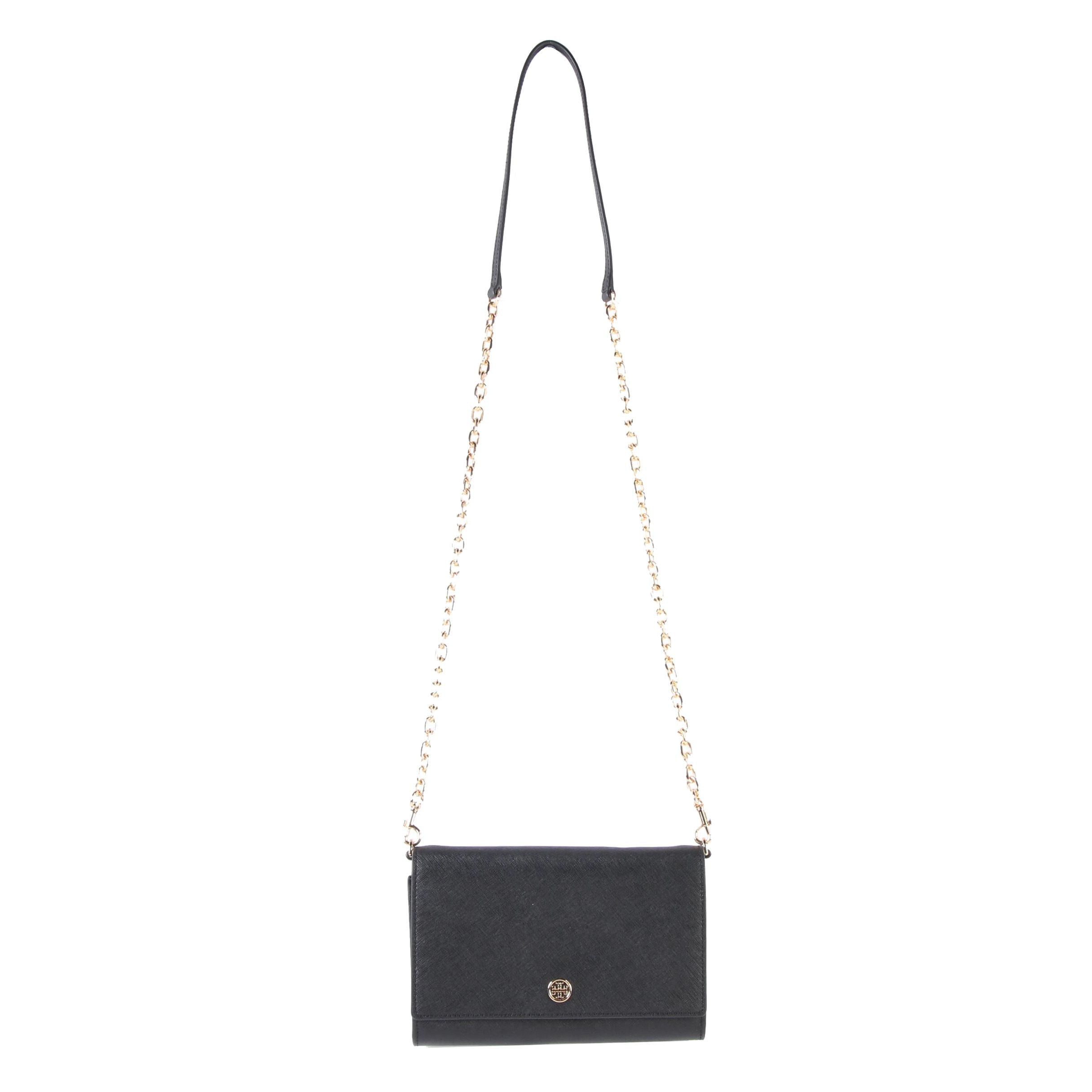 Tory Burch Robinson Chain Wallet Shoulder Bag in Black Saffiano Leather