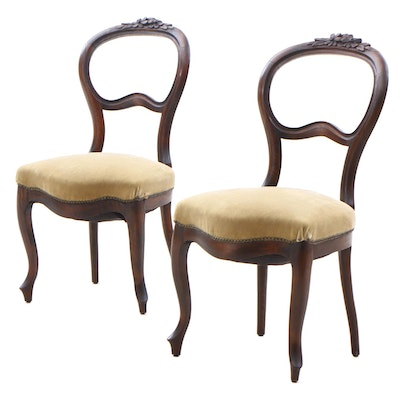 Victorian Walnut Upholstered Side Chairs, Circa 1880