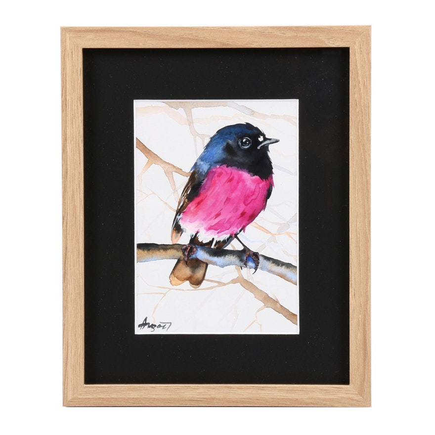Angor Watercolor Painting of Bird