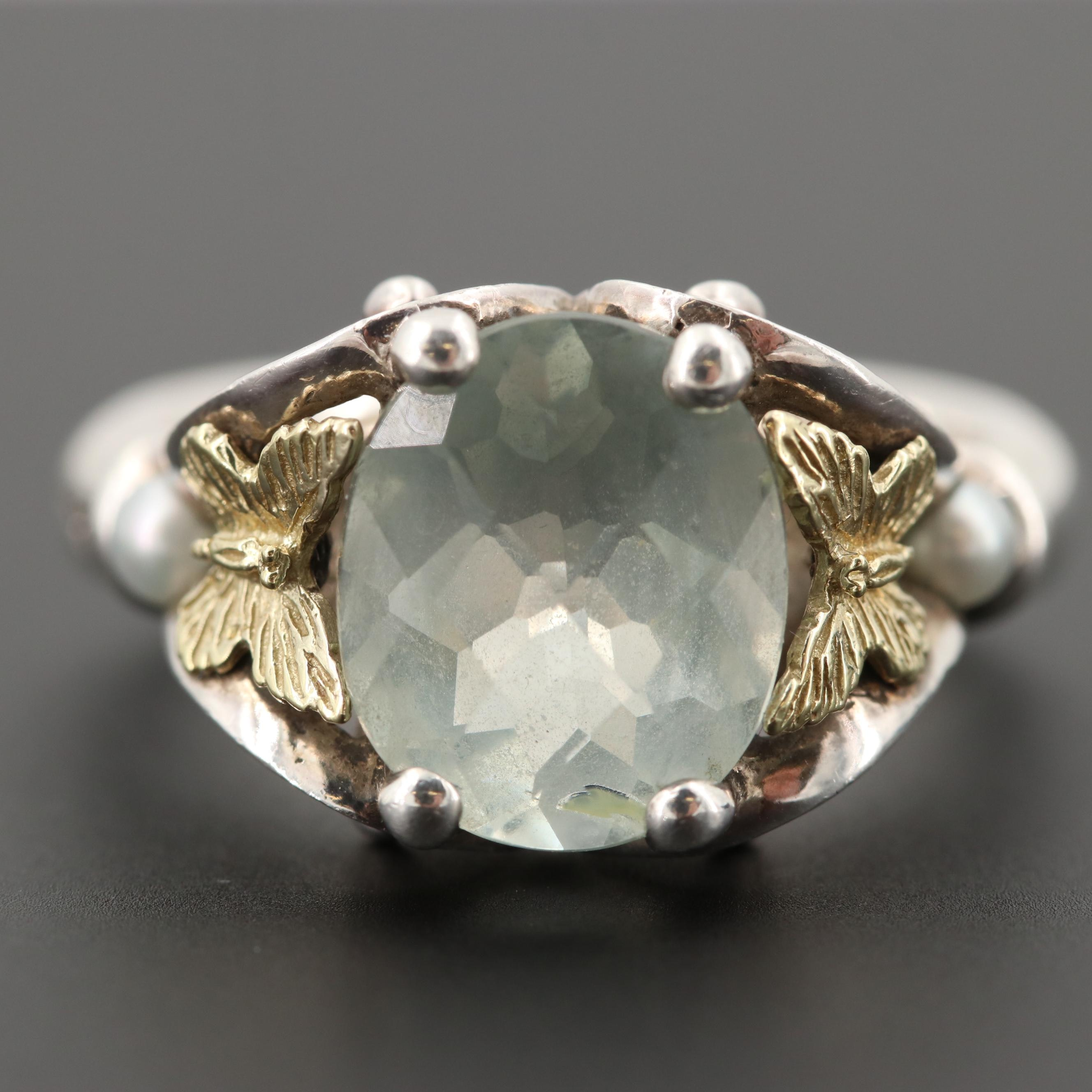 Ann King Sterling Prasiolite and Seed Pearl Ring with 18K Yellow Gold Accents