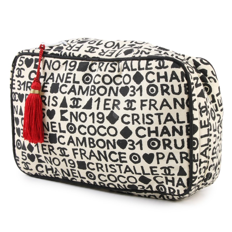 Chanel Coco Cristalle Canvas Makeup Bag with Tassel