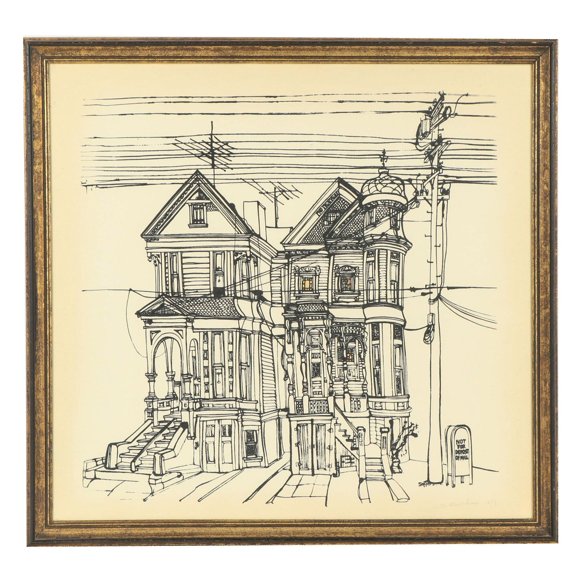 Janet Erickson 1972 Serigraph of Houses