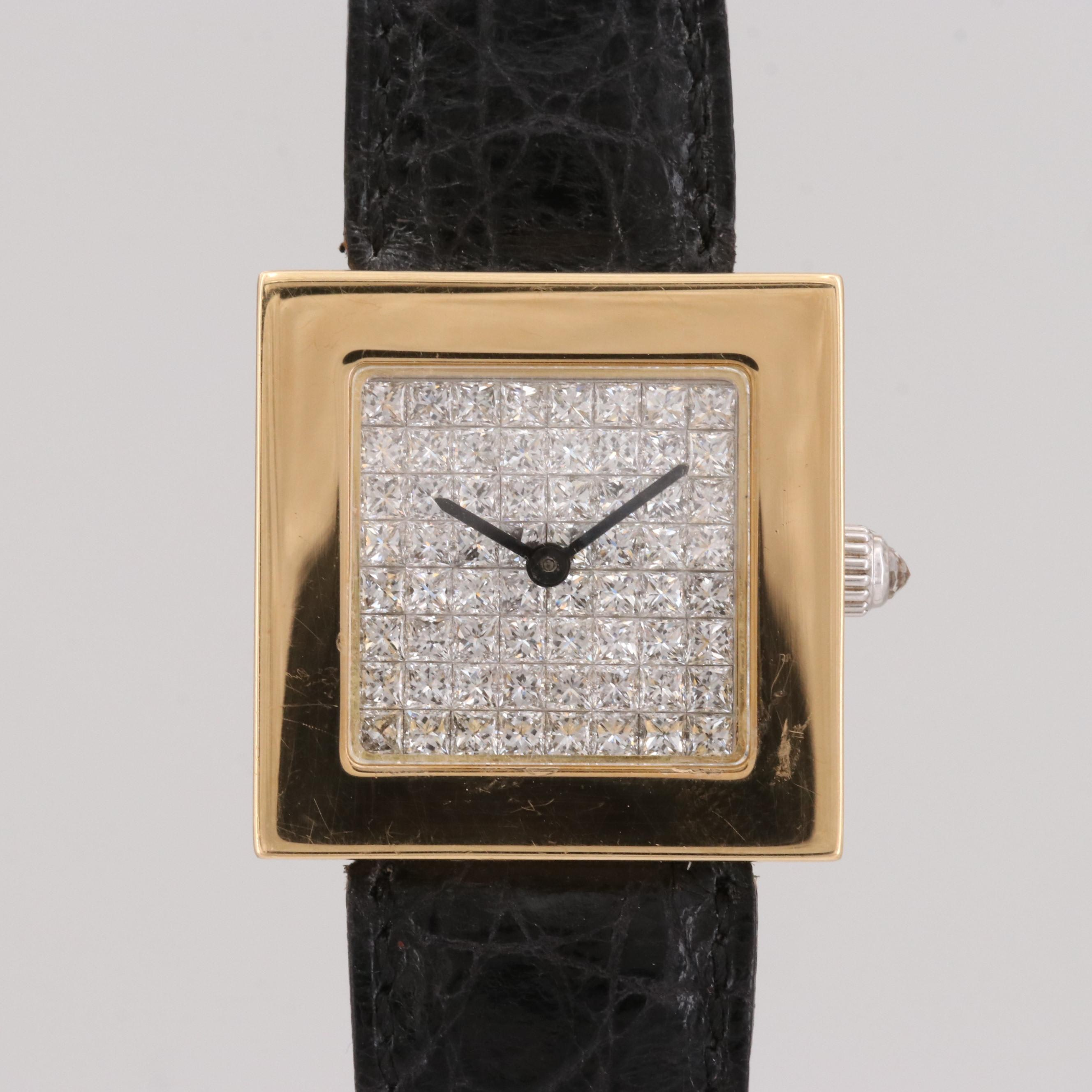 Quad Elegant 18K Yellow Gold Quartz Wristwatch With 4.55 CTW Diamonds