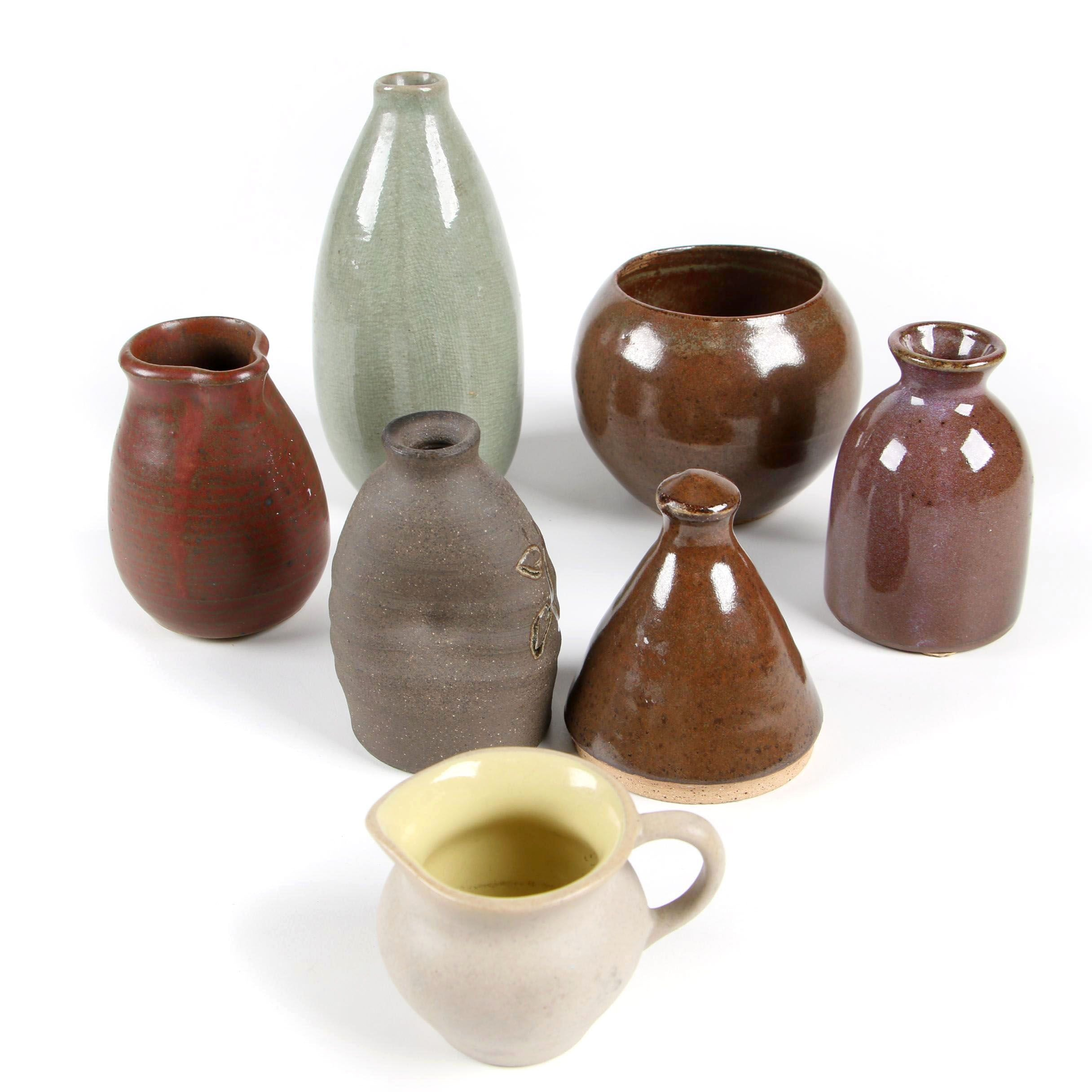 Pigeon Forge Pottery Cream Pitcher and Other Pottery Vases