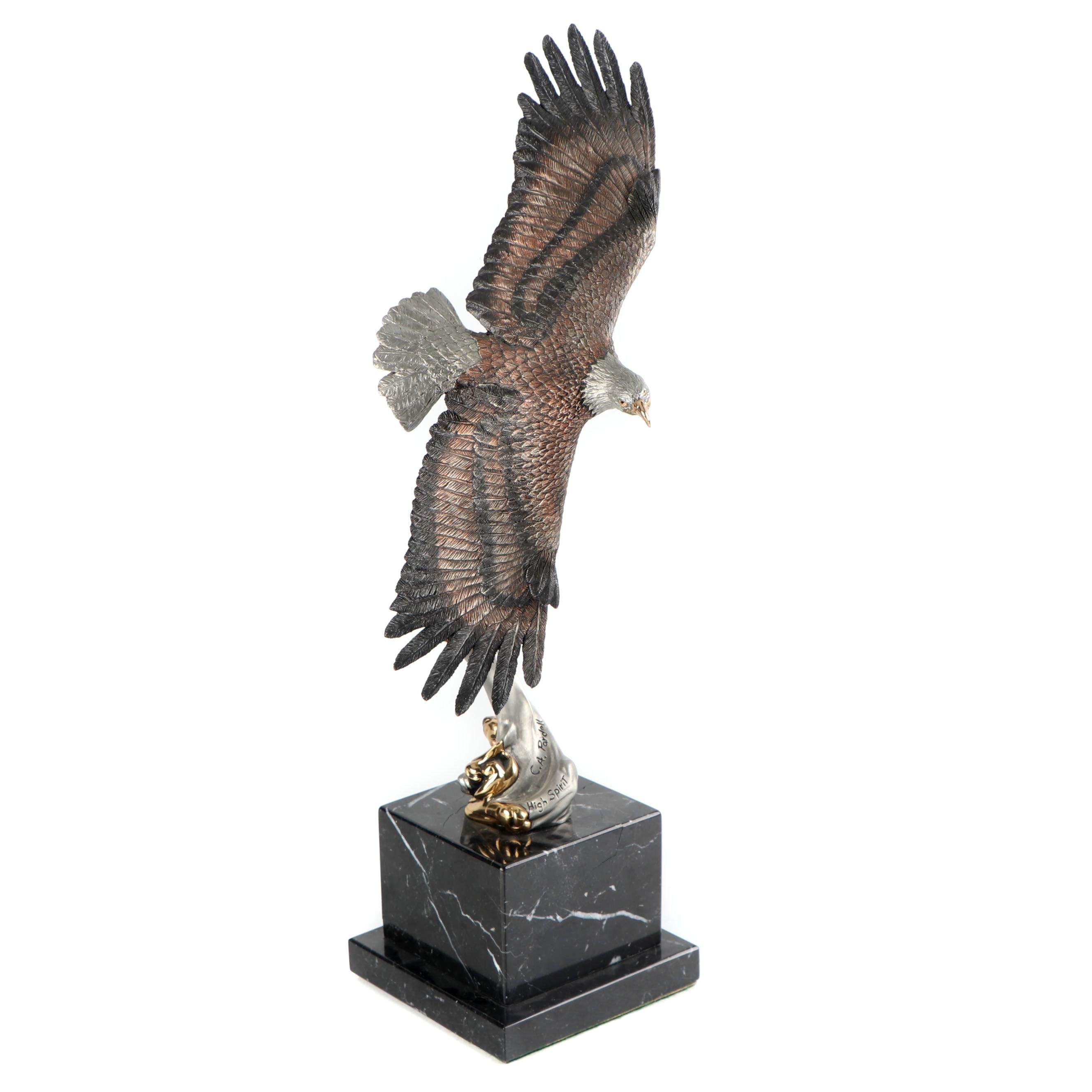 C. A. Pardell 'High Spirit' Eagle Limited Legends Pewter Sculpture, 1989