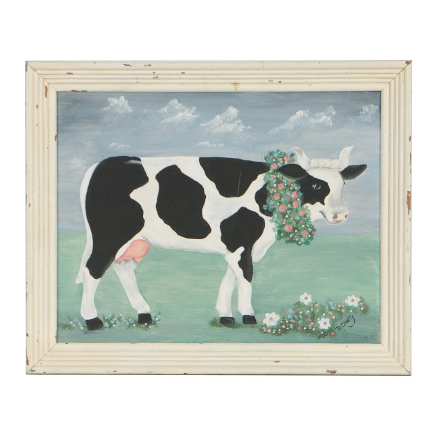 """D. Schultz Acrylic Painting """"Country Cow"""", Late 20th Century"""