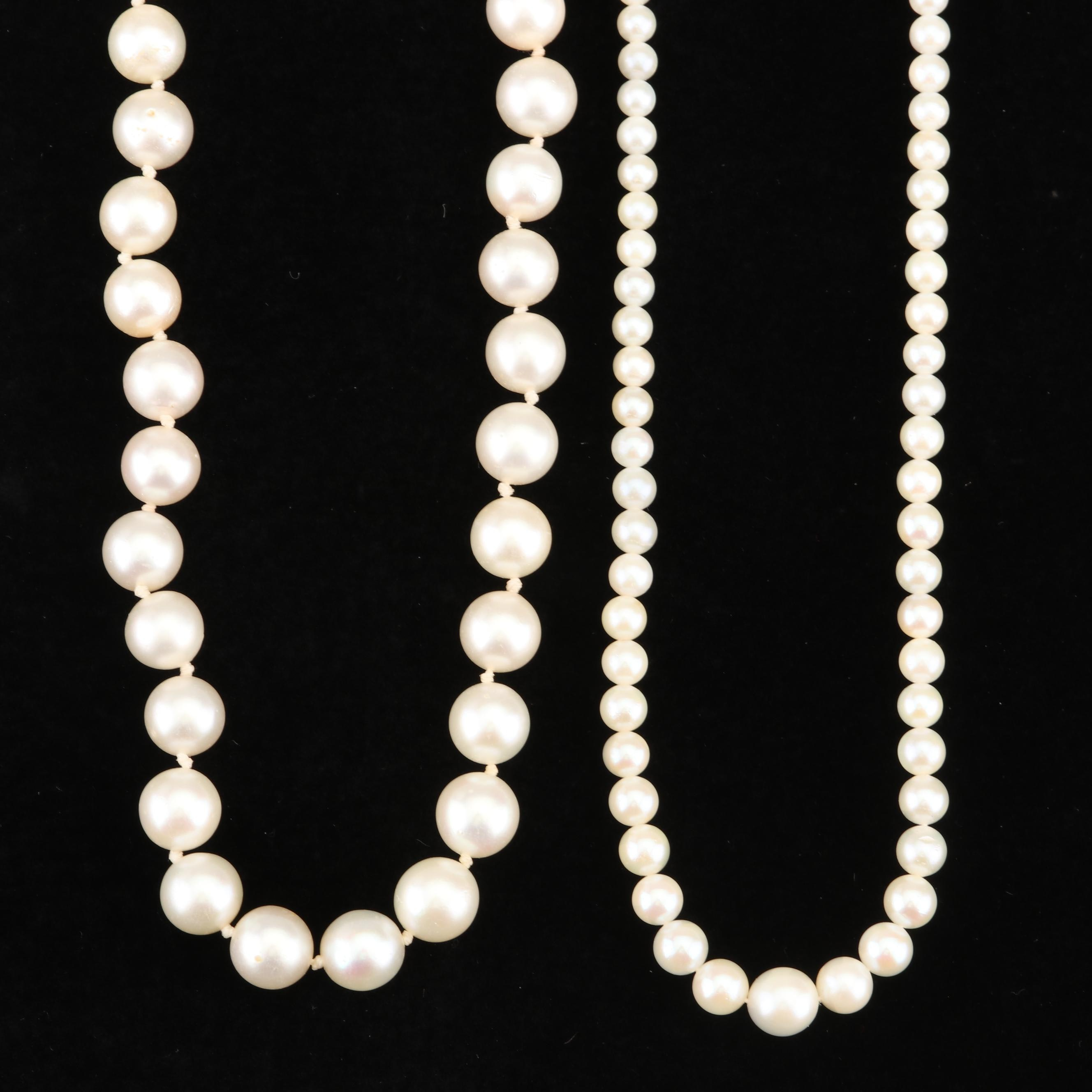 Cultured Pearl Necklaces with 14K White Gold Clasps