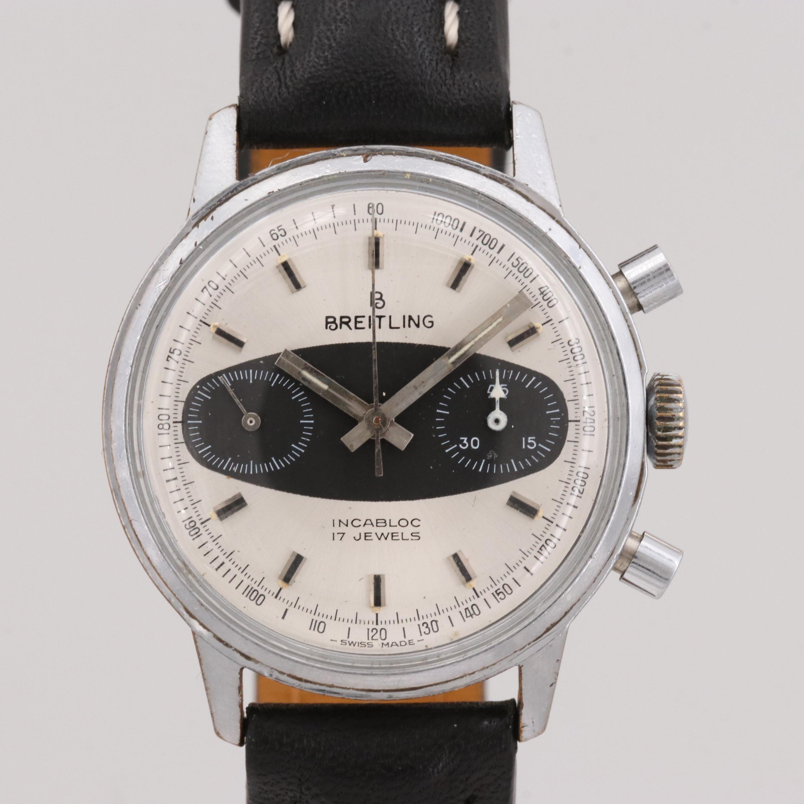 Vintage Breitling Stainless Steel  Stem Wind Wristwatch