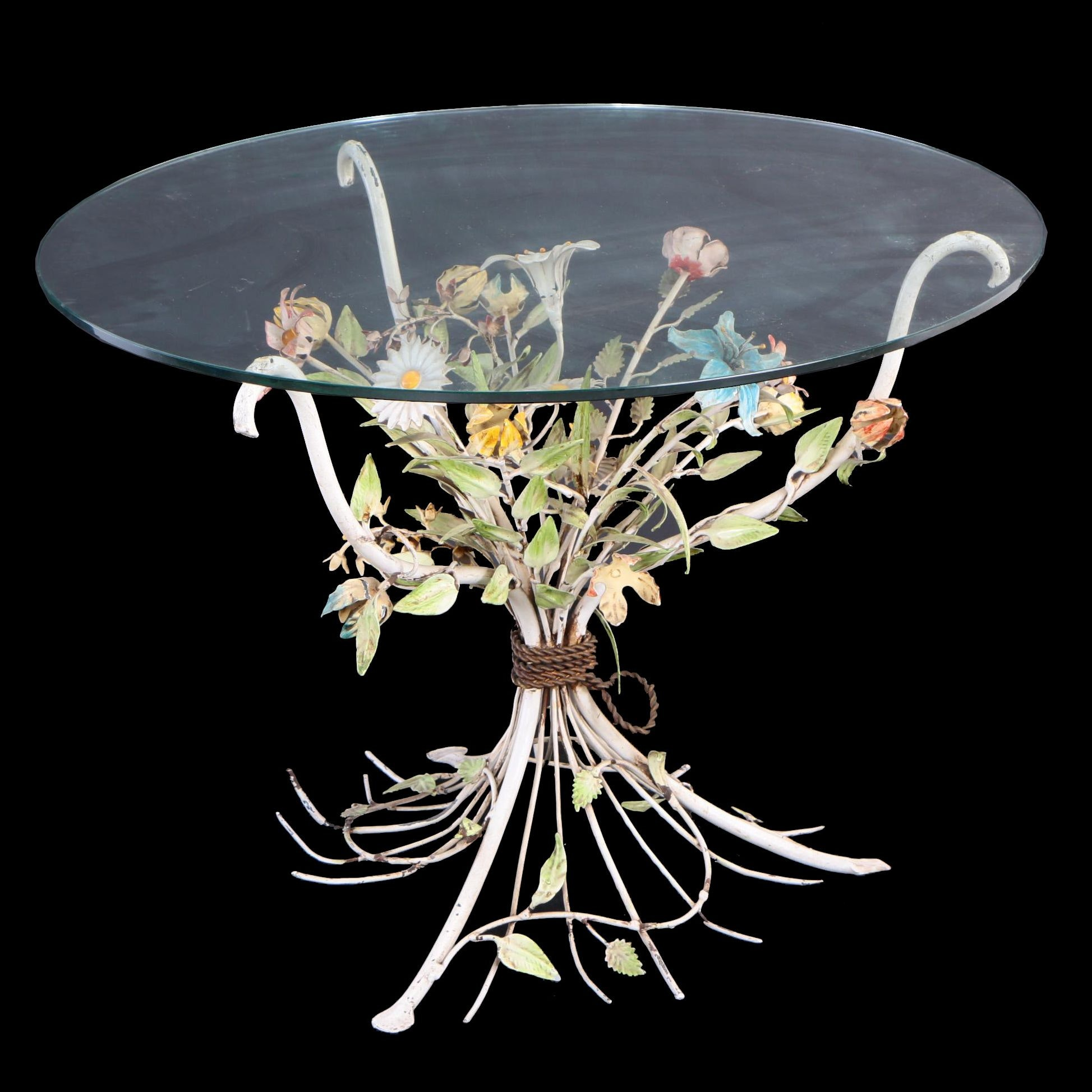 Tole Peinte and Glass-Top Floral Side Table, Probably Italian, 20th Century