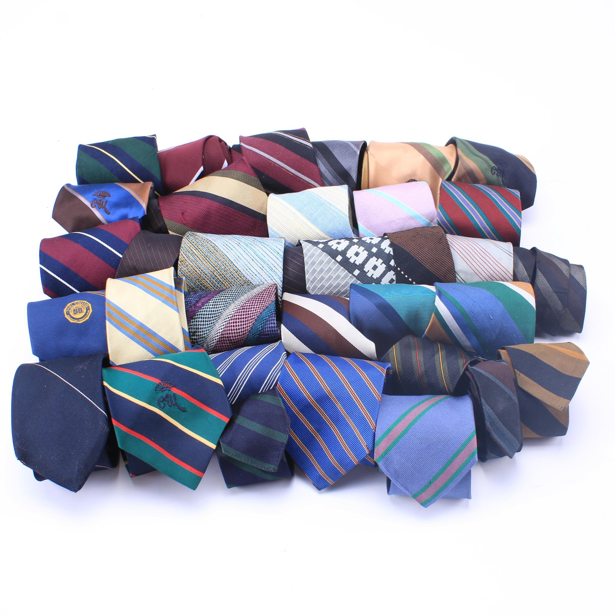 Men's Striped Neckties Including Brooks Brothers, Vintage