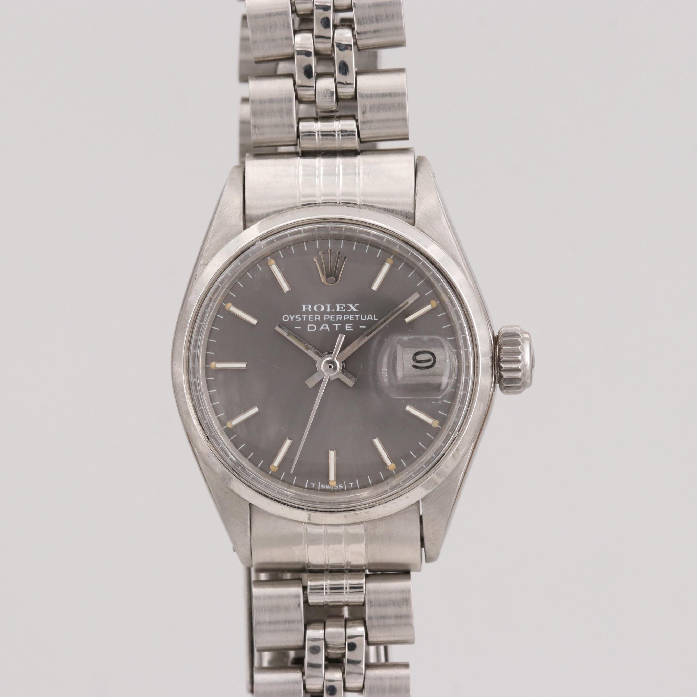 Vintage Rolex Date Sterling Silver Wristwatch, 1971