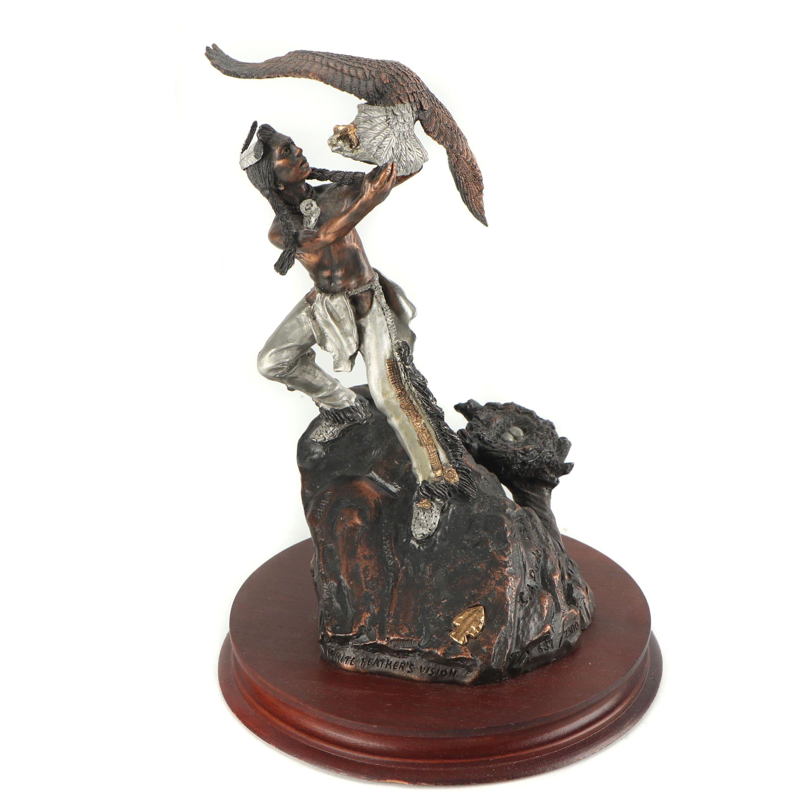 """C. A. Pardell Limited Edition Metal Sculpture """"White Feather's Vision"""""""