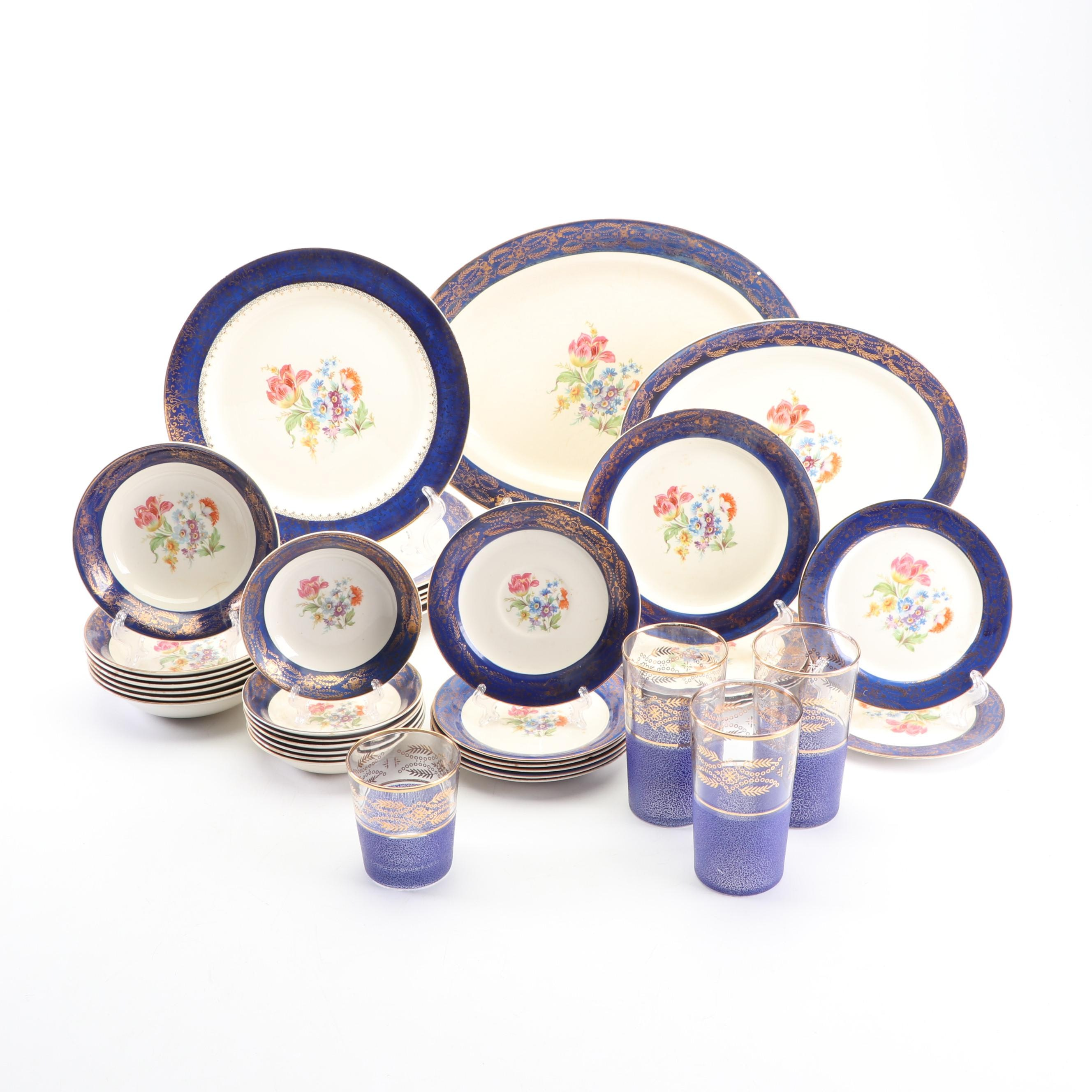 "Royal Stetson Deluxe ""Madam du Barry Royal Blue"" Gold Trim China Tableware"
