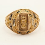 Vintage 10K Yellow and White Gold Black Enameled High School Ring