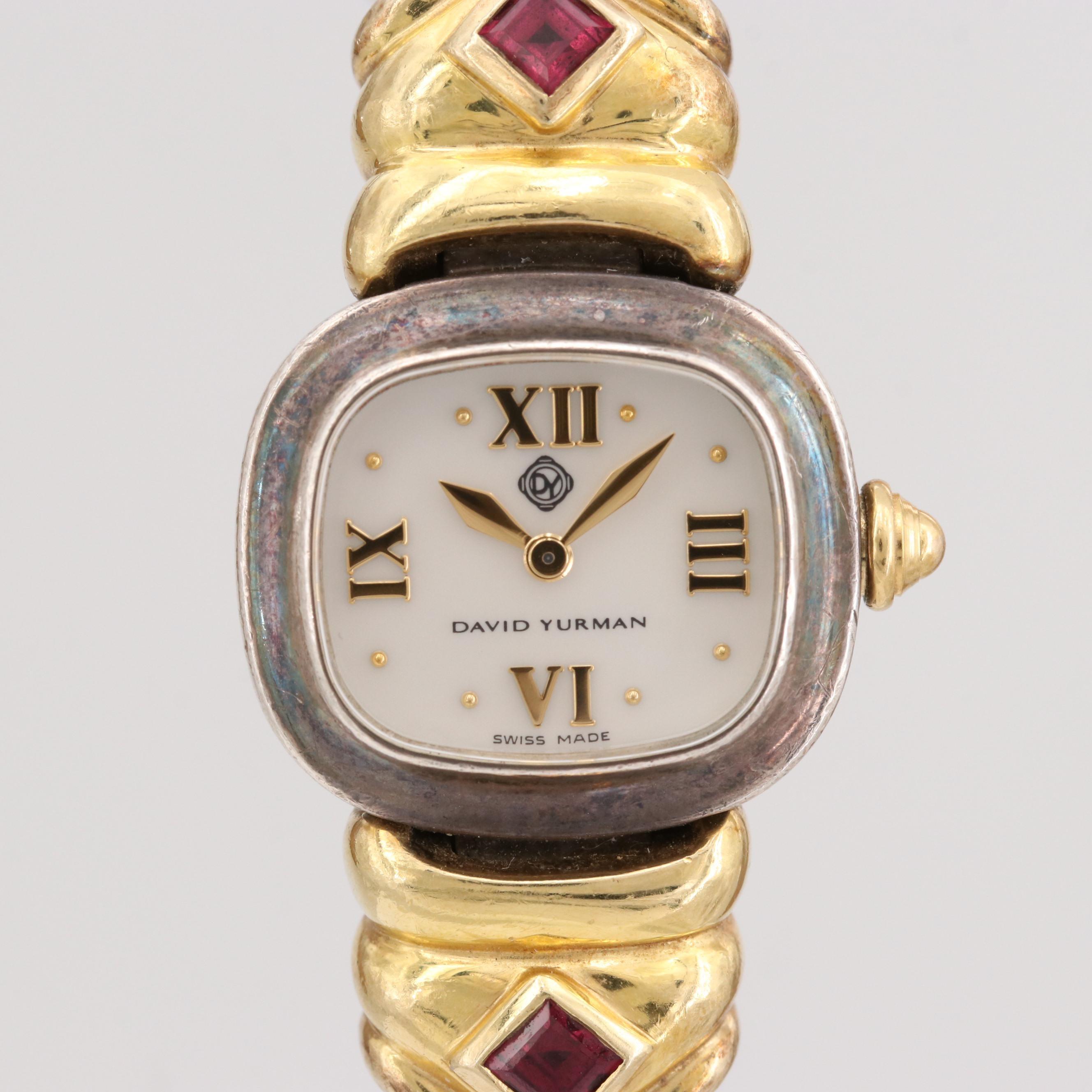 David Yurman Sterling Silver and 18K Yellow Gold Wristwatch With Garnets