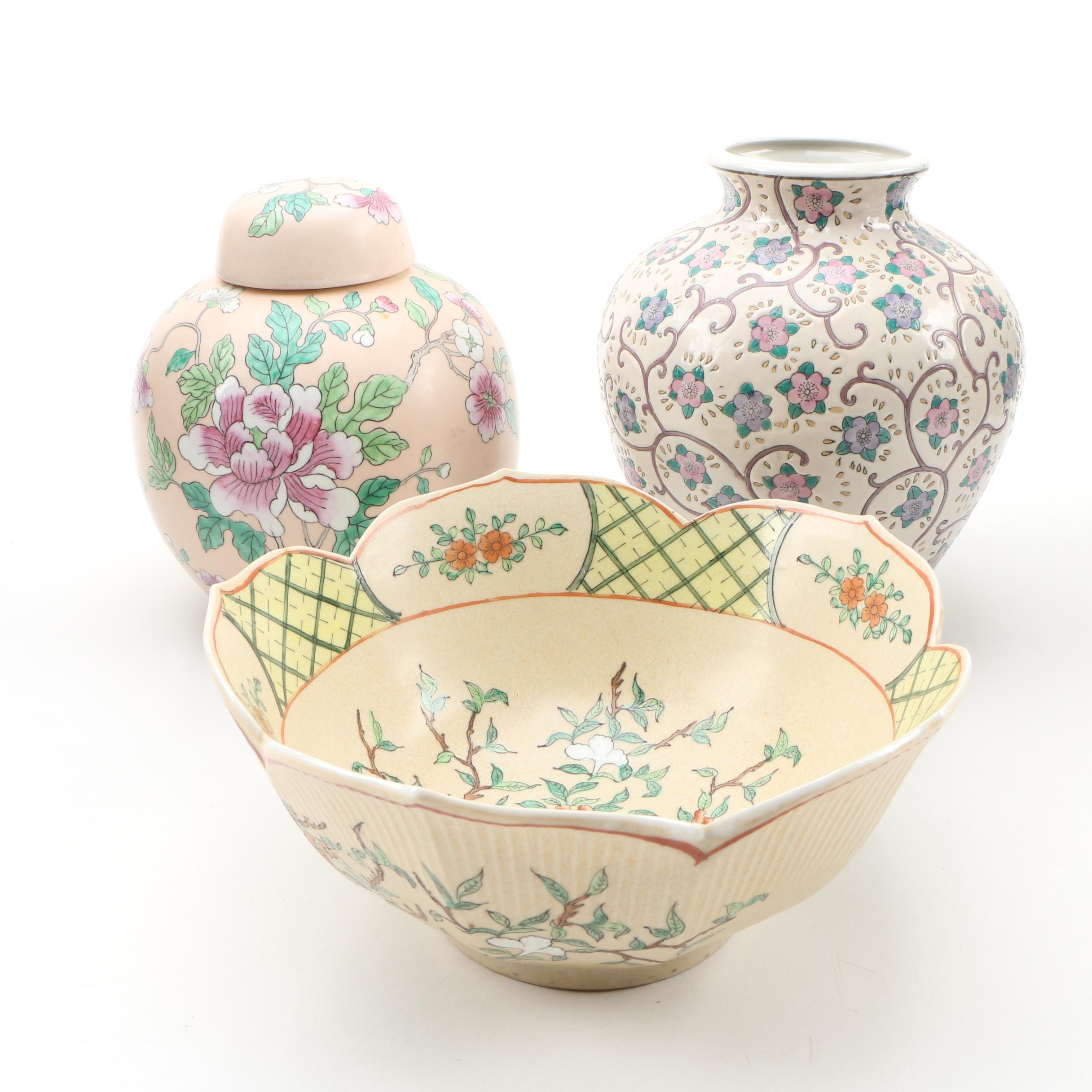 Chinese Ceramic Centerpiece Bowl, Ginger Jar, and Vase