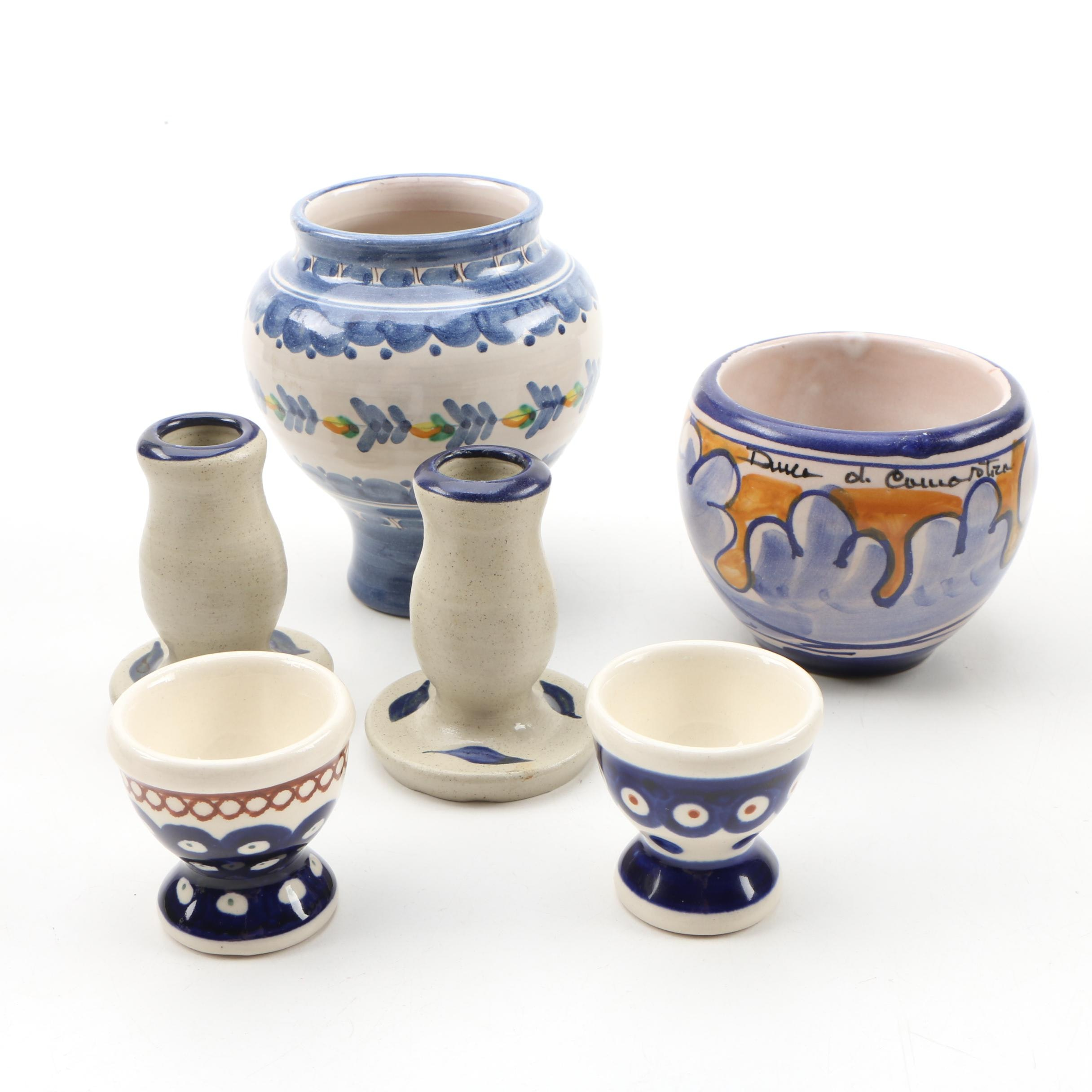 Williamsburg Pottery Candlesticks and Other Souvenir Pieces