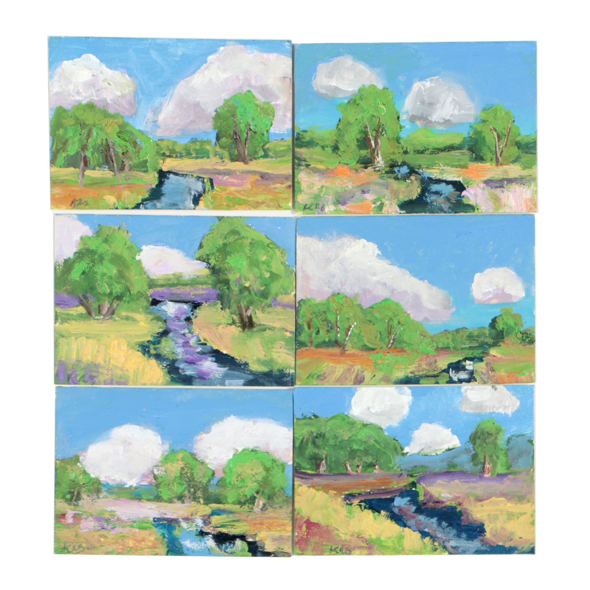 Kenneth Burnside Miniature Landscape Oil Paintings, Set of Six