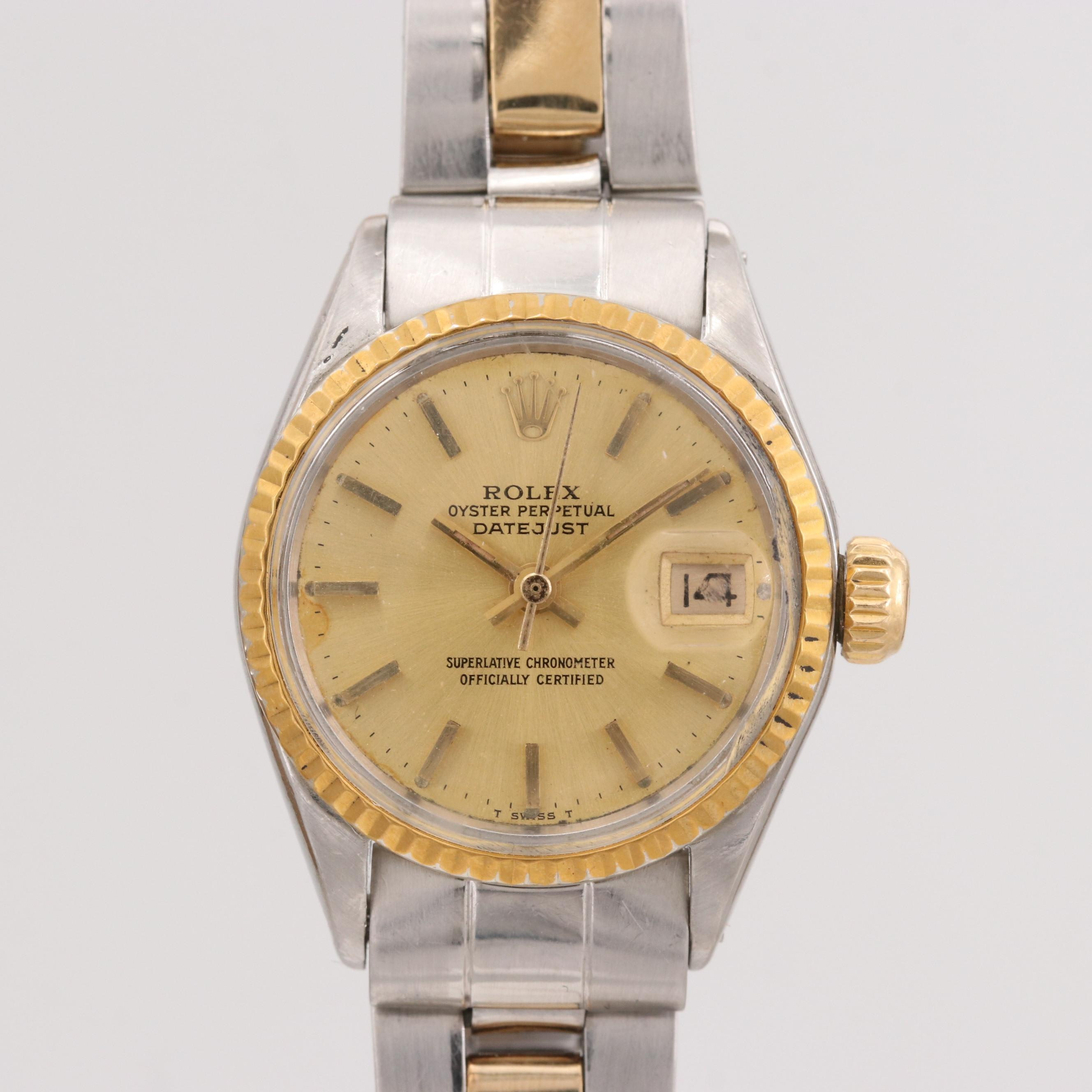 Vintage Rolex Datejust Stainless Steel and 18K Yellow Gold Wristwatch, 1970