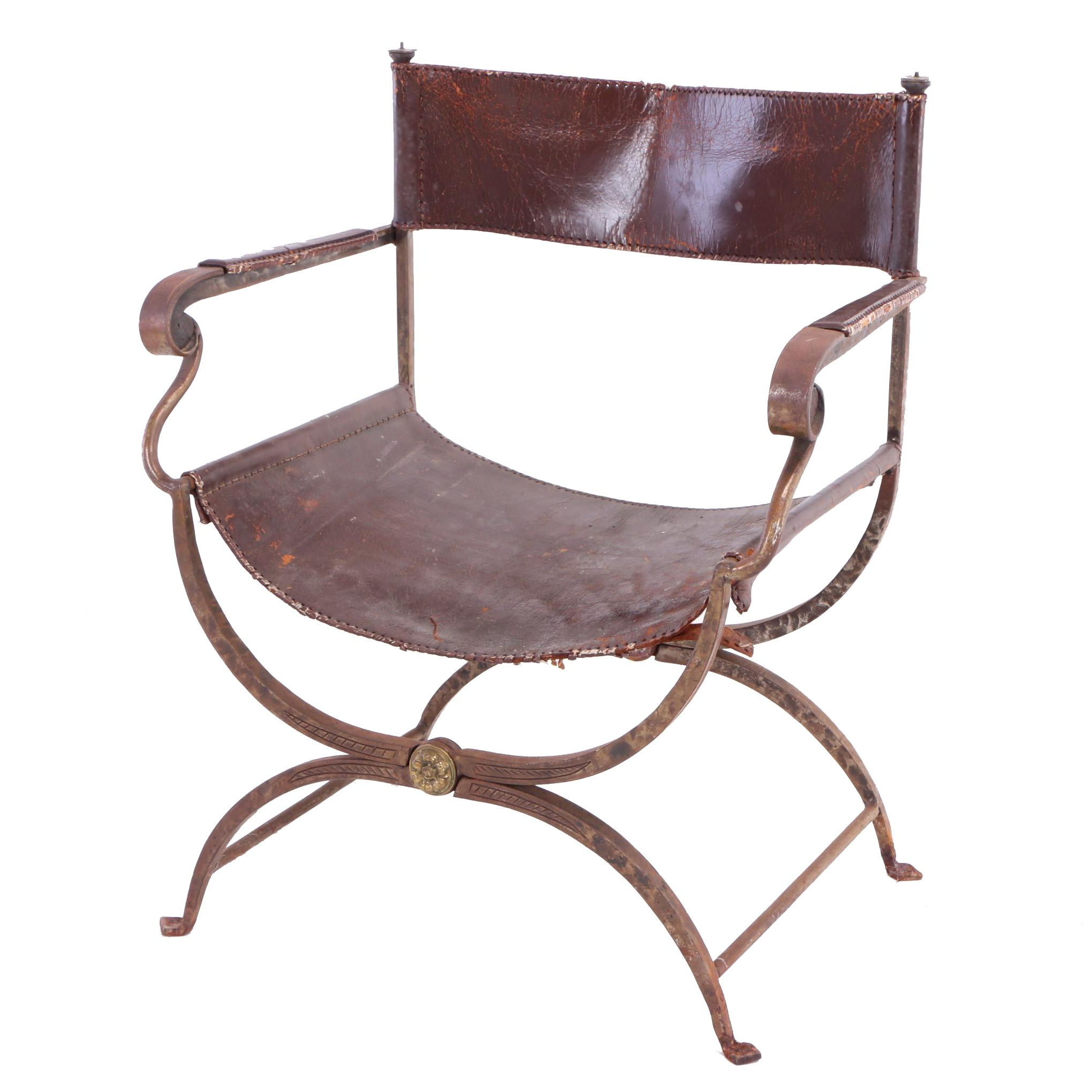 Brass-Mounted Iron and Brown Leather Campaign Chair, Probably French, Circa 1930