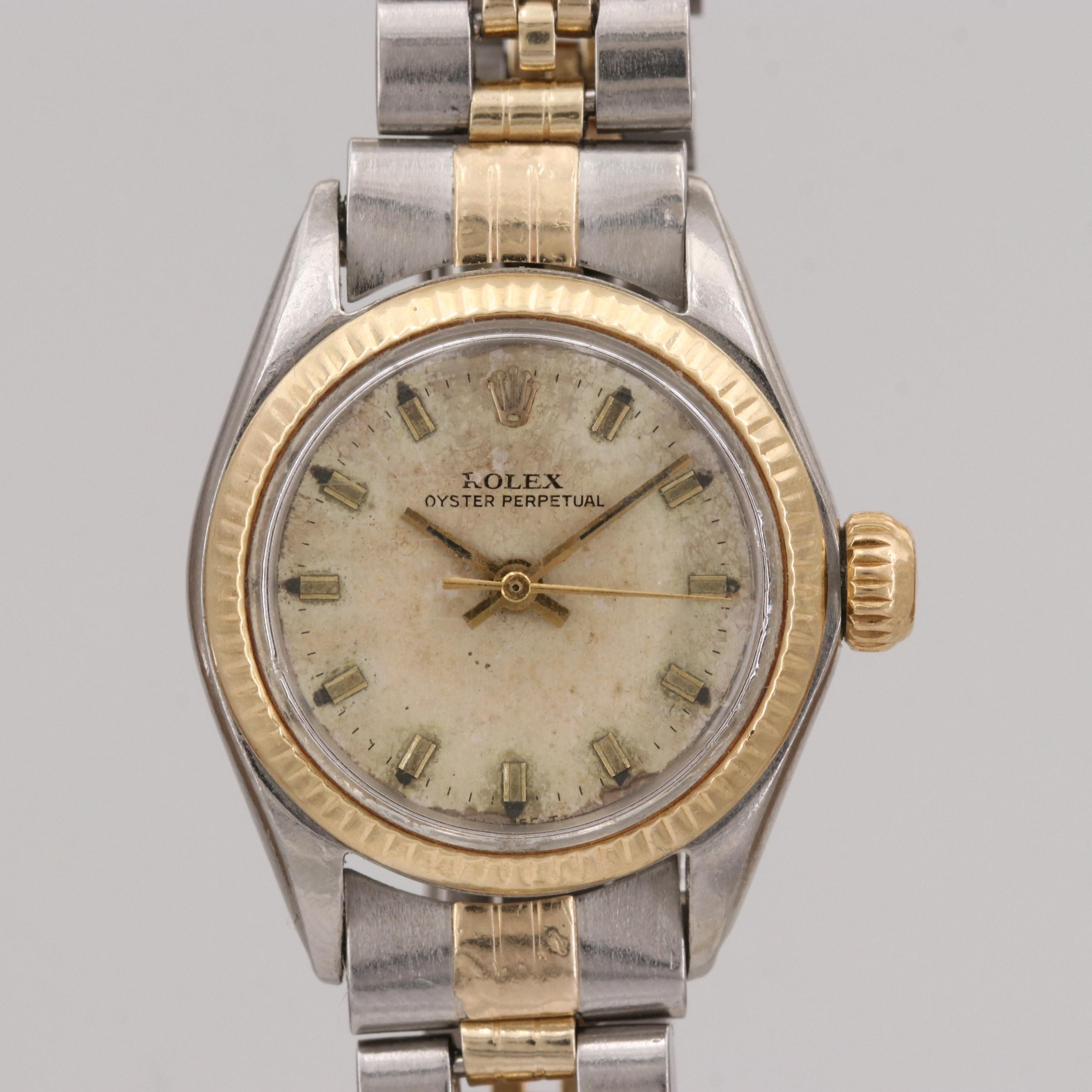 Vintage Rolex Oyster Perpetual Stainless Steel and 18K Yellow Gold Wristwatch, 1