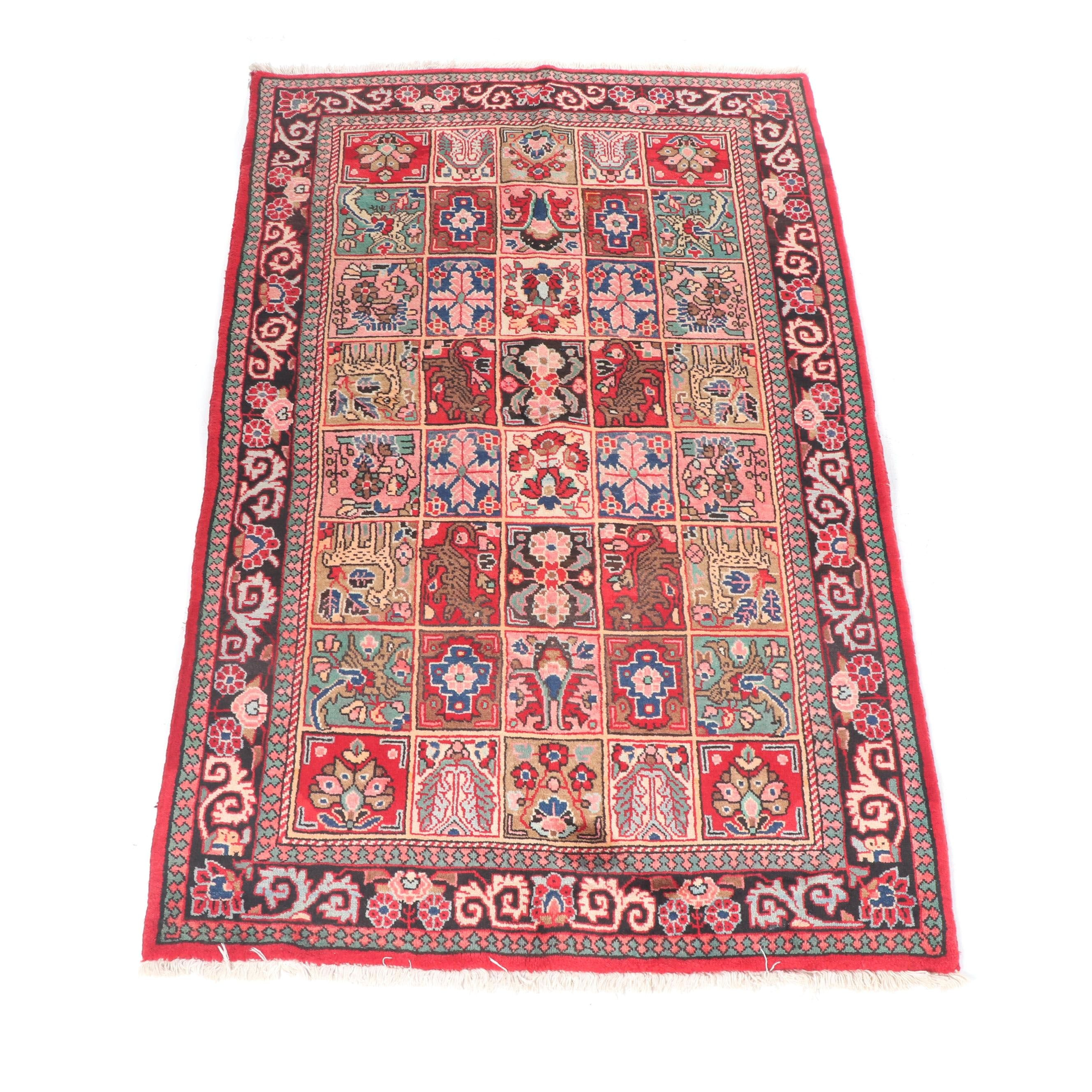 Hand-Knotted Indo-Persian Bakhtiari Wool Rug