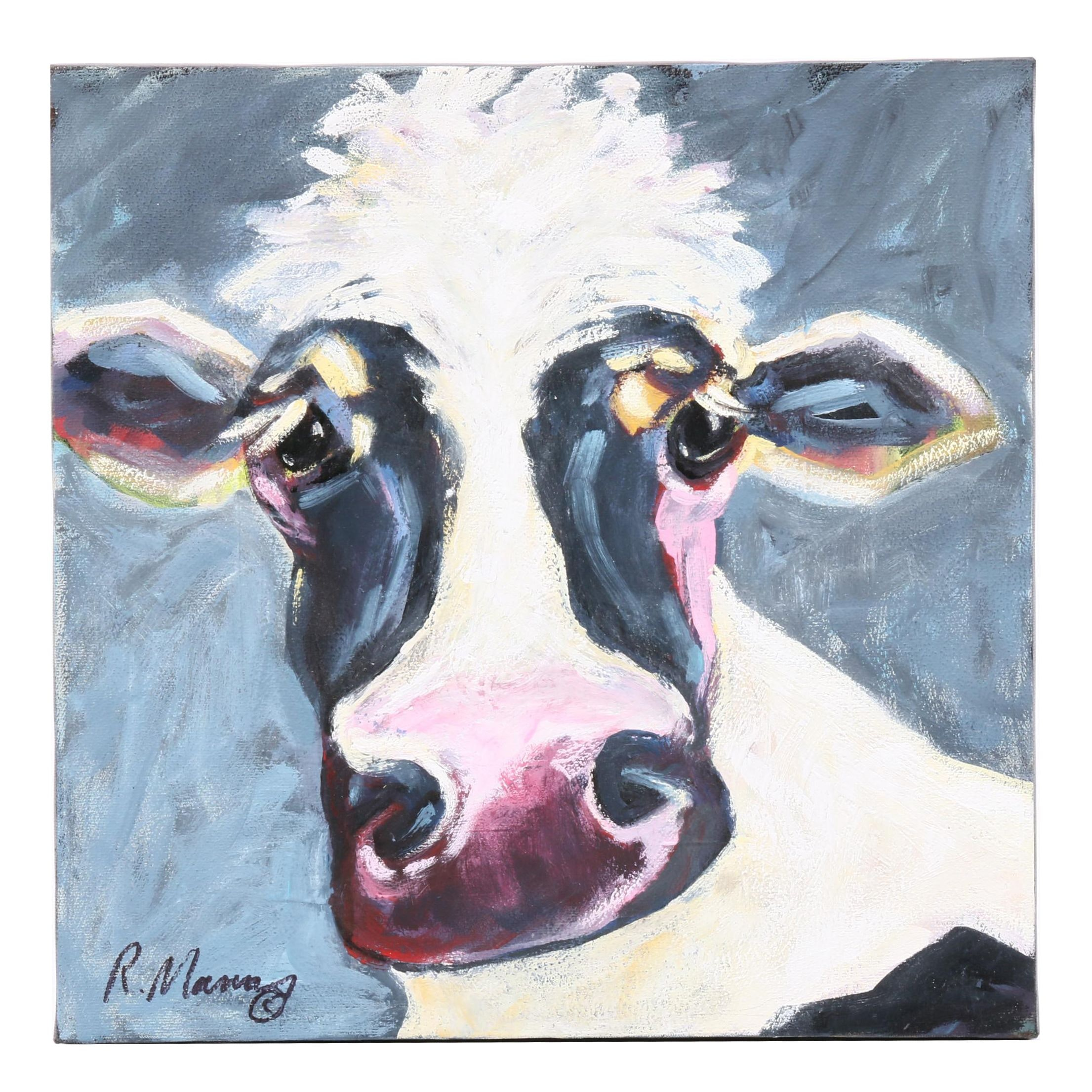 Rebecca Manns Acrylic Painting of a Cow