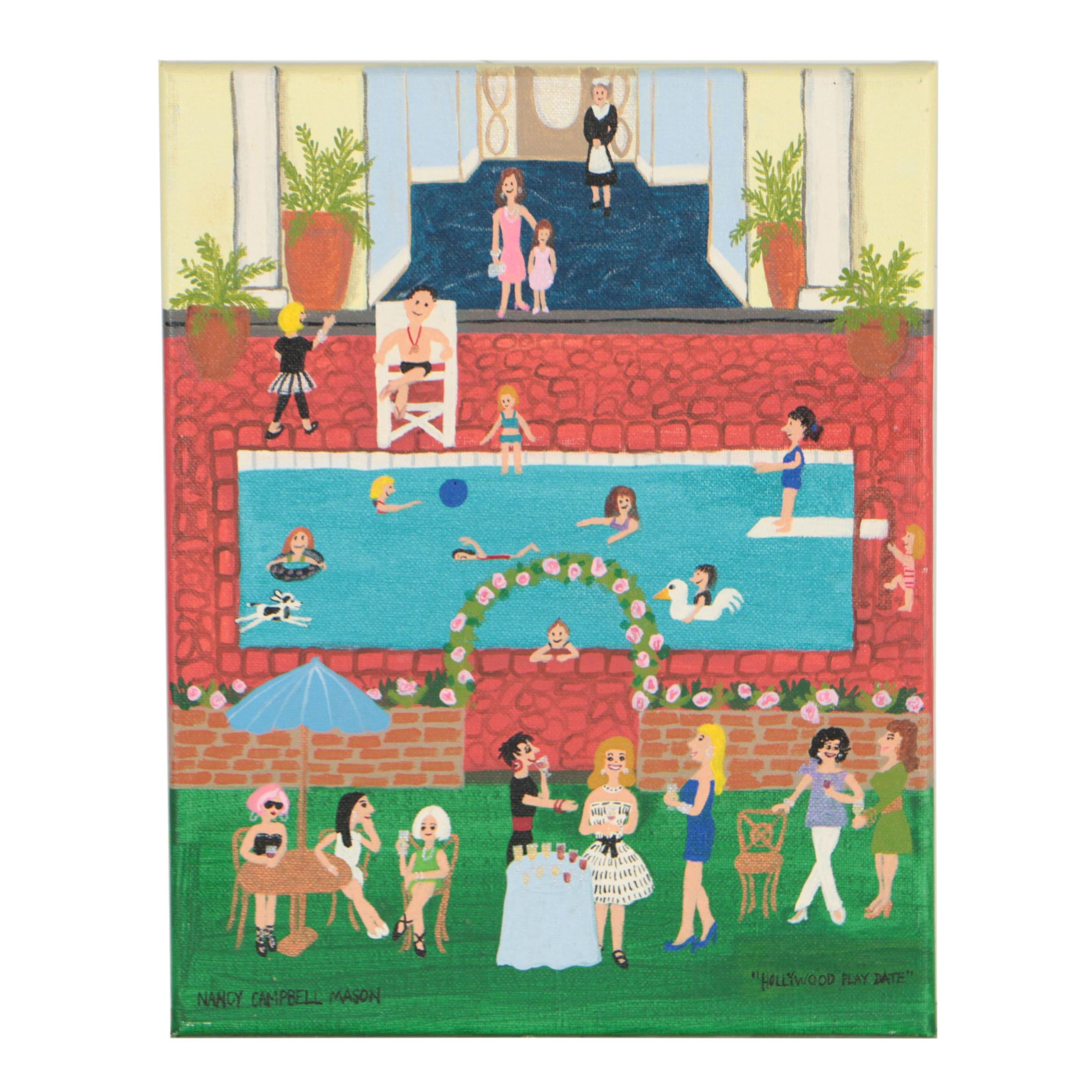"Nancy Campbell Mason Folk Art Acrylic Painting ""Hollywood Play Date"""