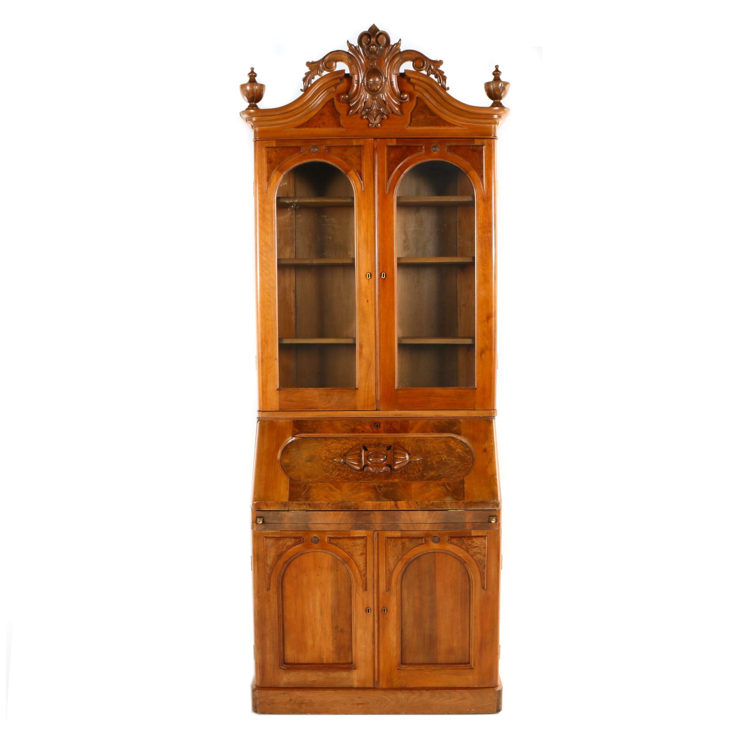 Rococo Revival Walnut and Burl Walnut Secretary Bookcase, Mid 19th Century