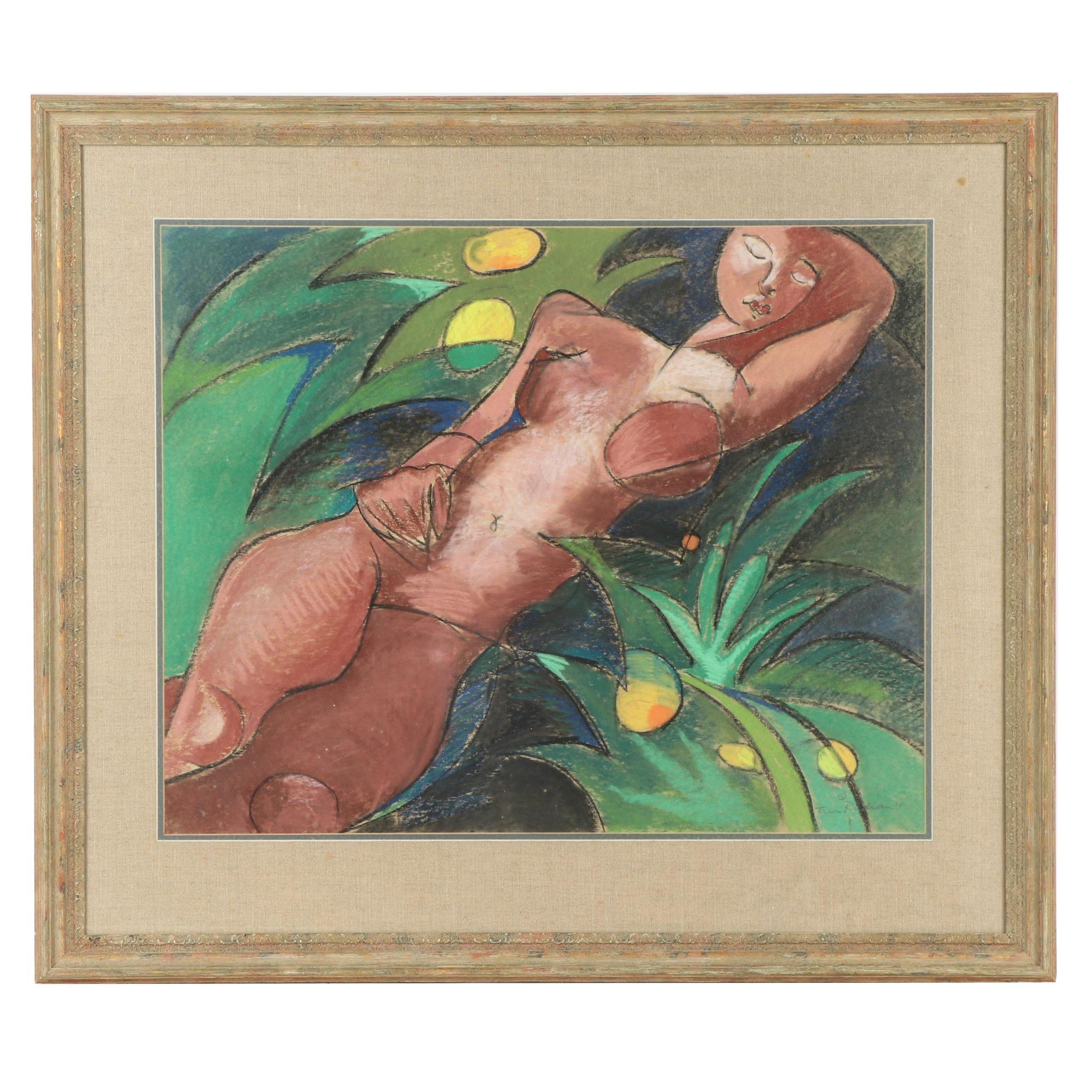 Cubist Style Pastel Portrait of a Female Nude, 1990