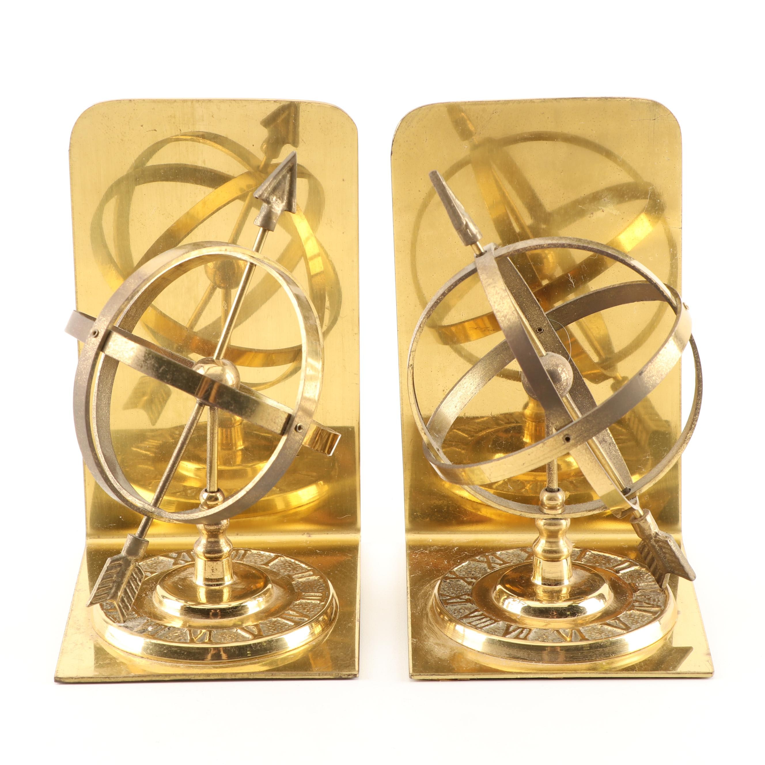 Plated Brass Armillary Sphere Bookends