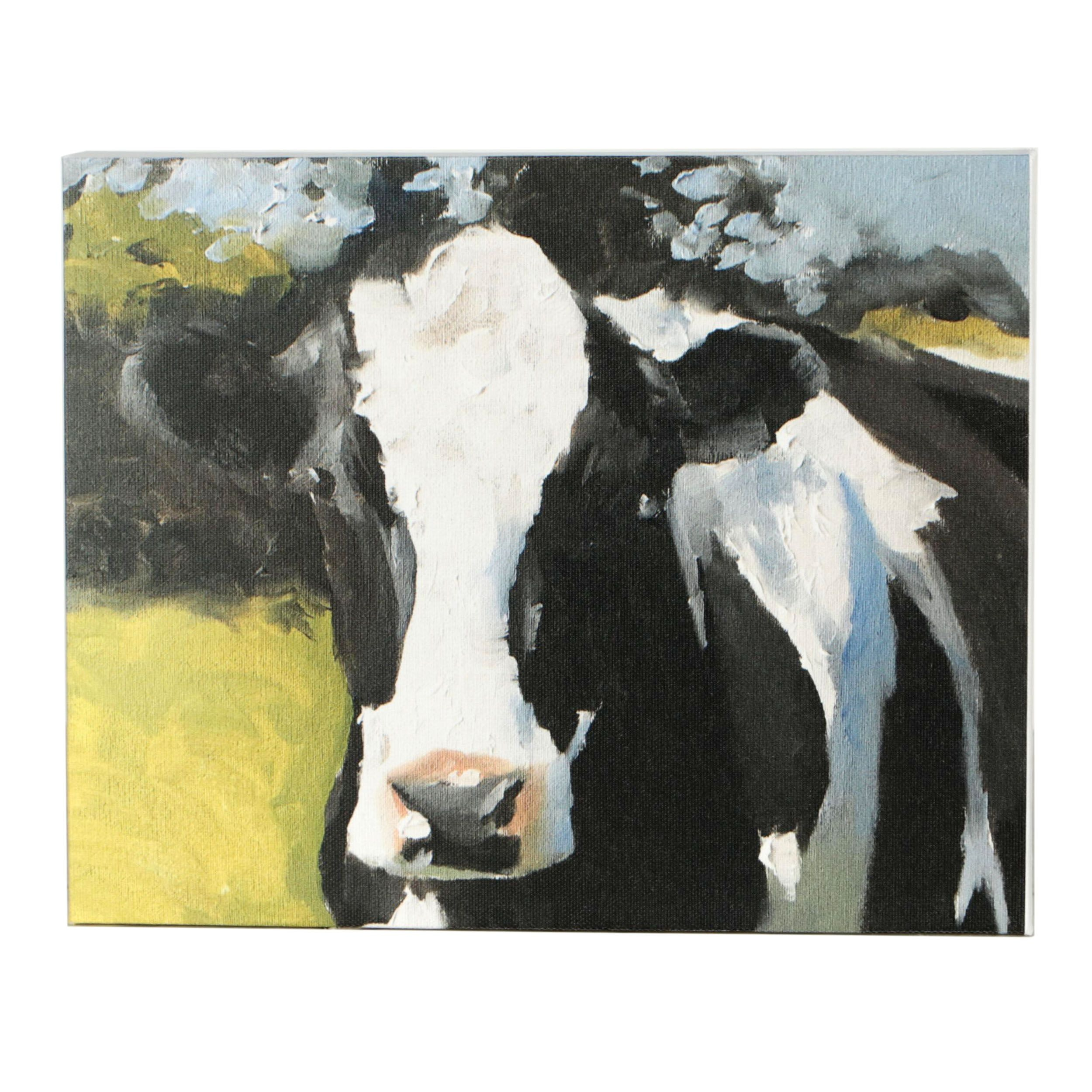James Coates Giclée of Black and White Cow