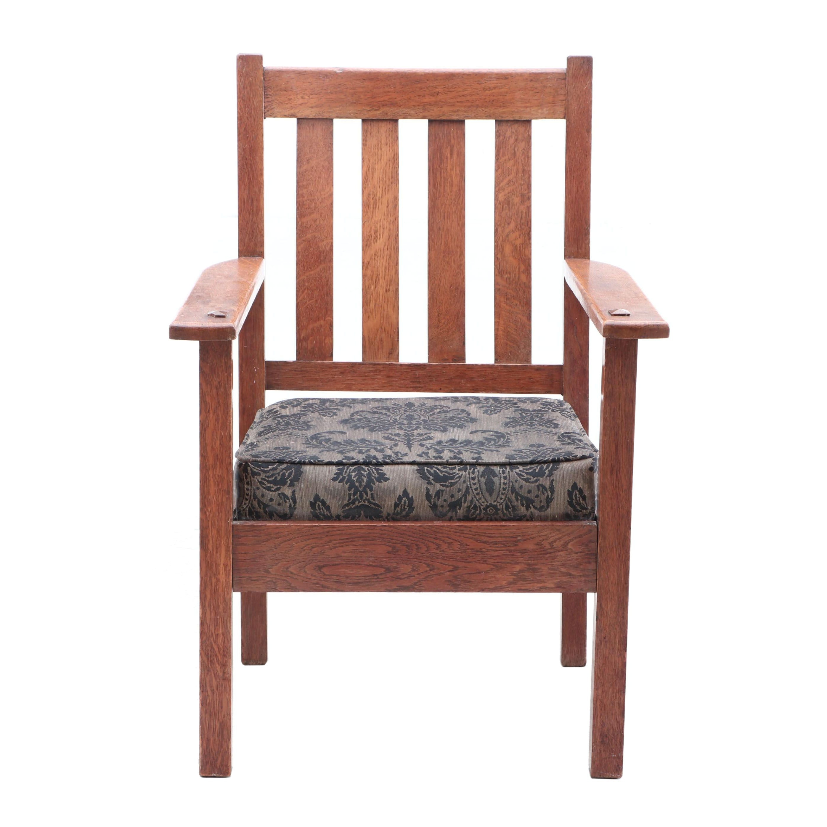 Arts and Crafts Oak Upholstered Seat Arm Chair, Circa 1910
