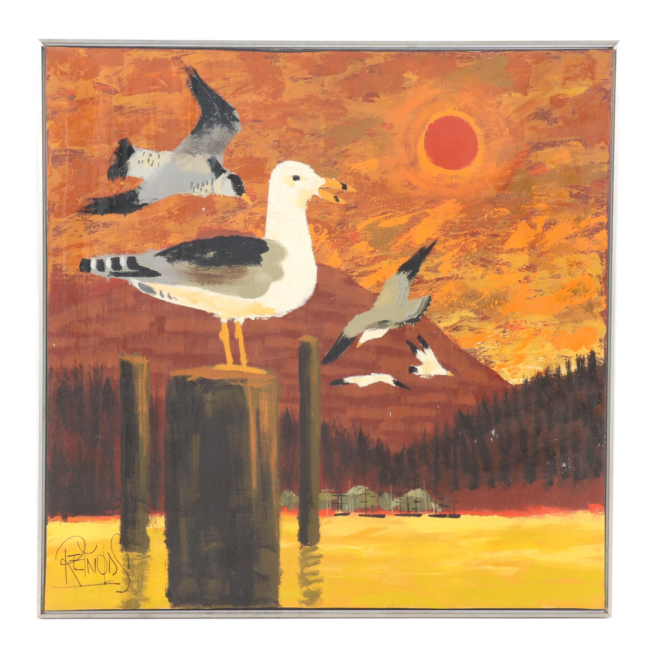 Reynolds Abstract Oil Painting of Seagulls