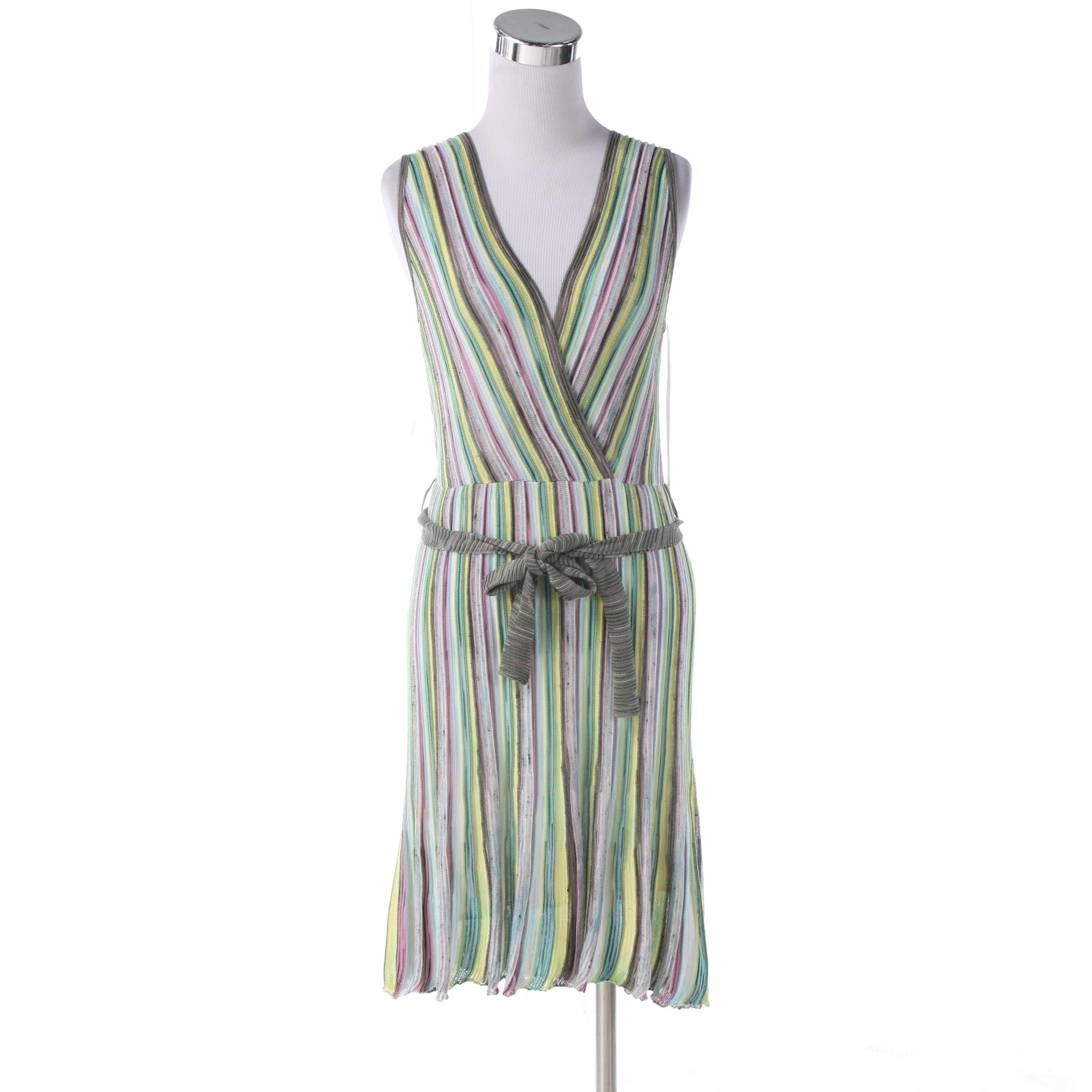 M Missoni Sleeveless Knit Dress in Striped Cotton Blend with Tie Sash