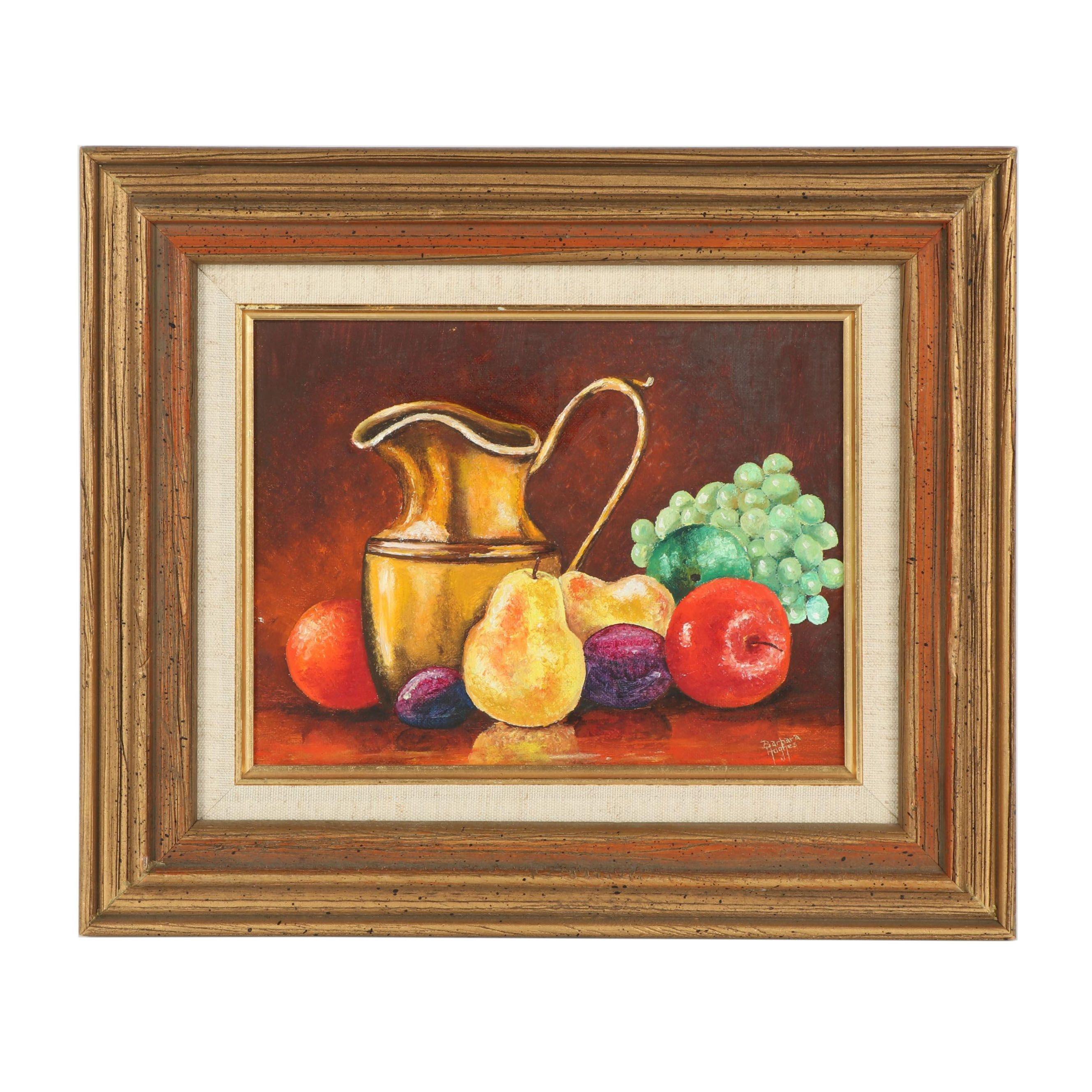 Mid 20th Century Fruit Still Life Oil Painting