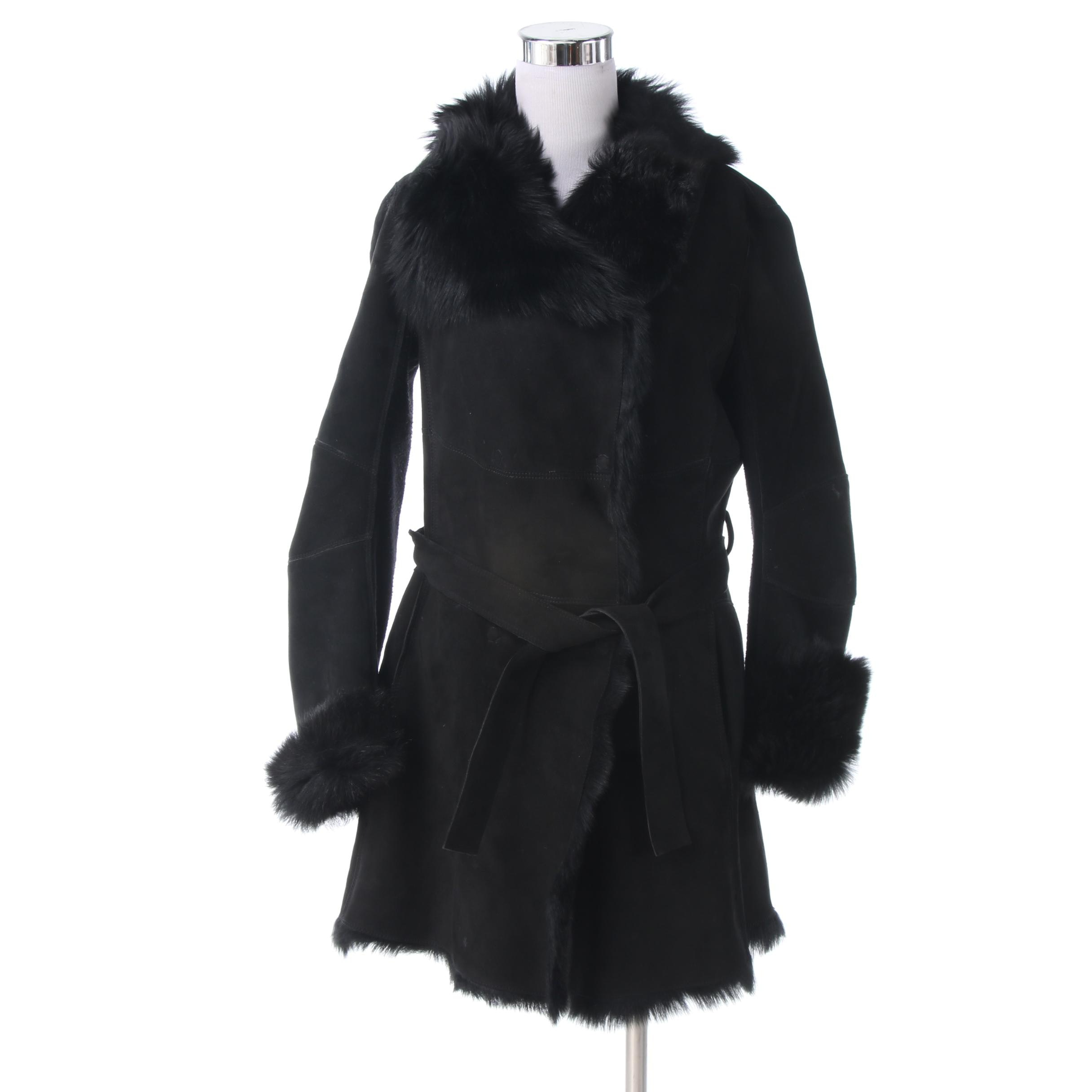 Vici Corsi Couture Black Goatskin Coat with Goat Fur Lining