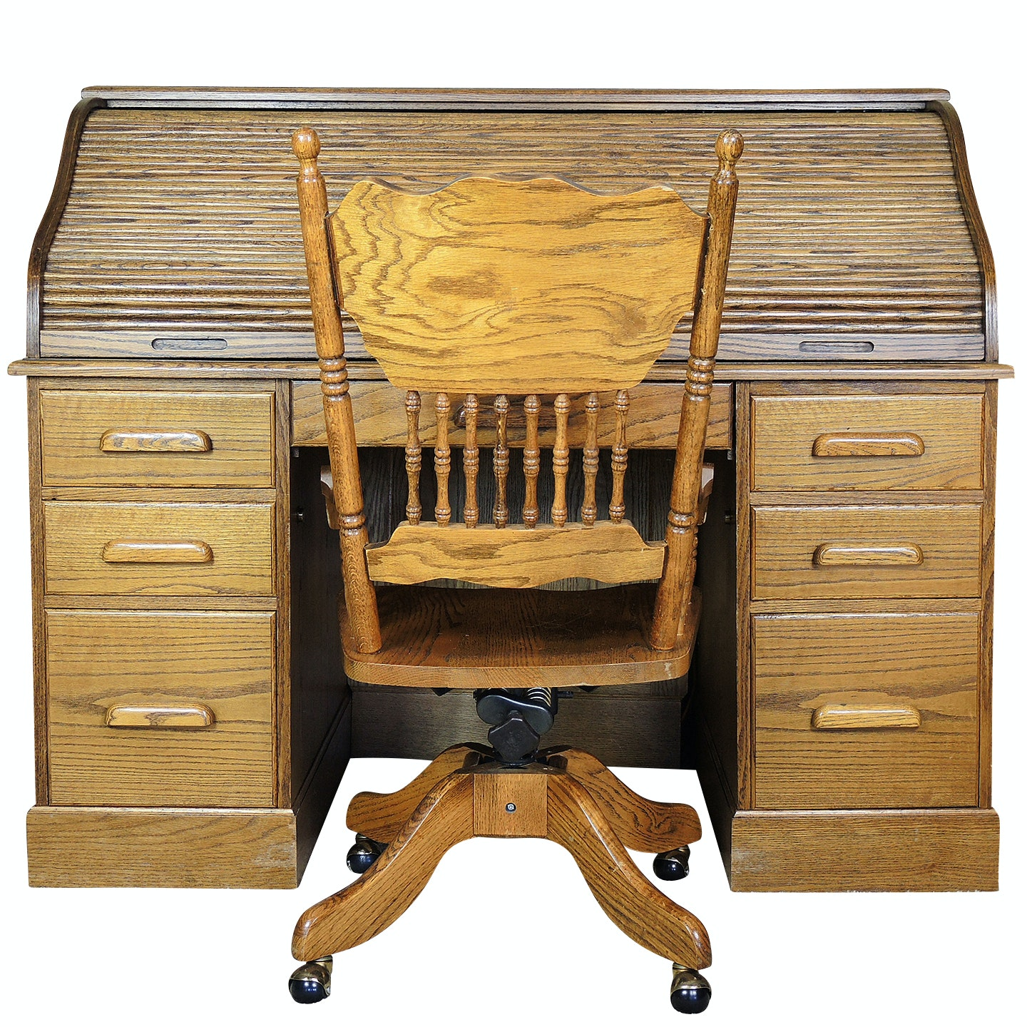 Contemporary Roll Top Desk and Chair in Oak