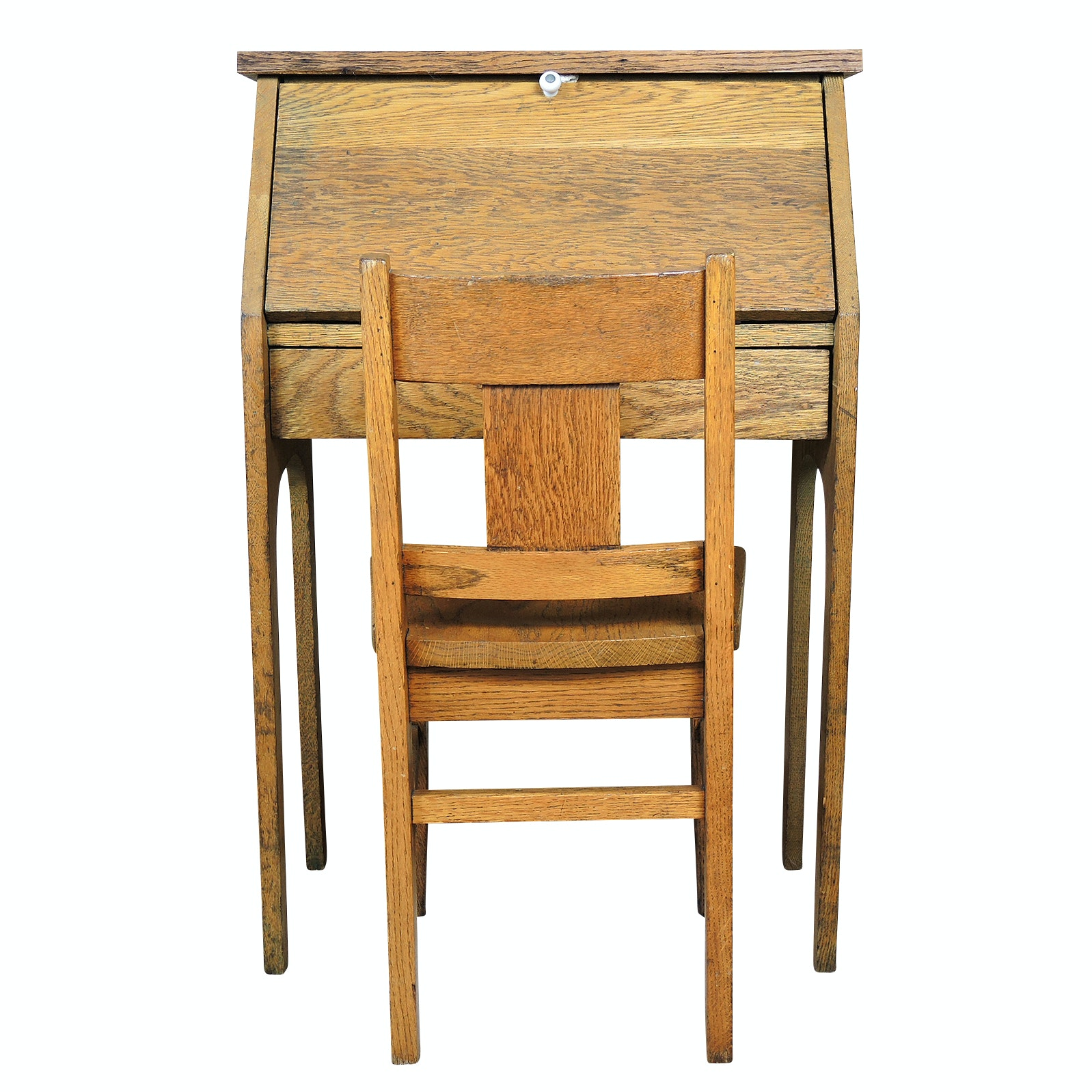 Child's Oak Slant Top Writing Desk and Chair