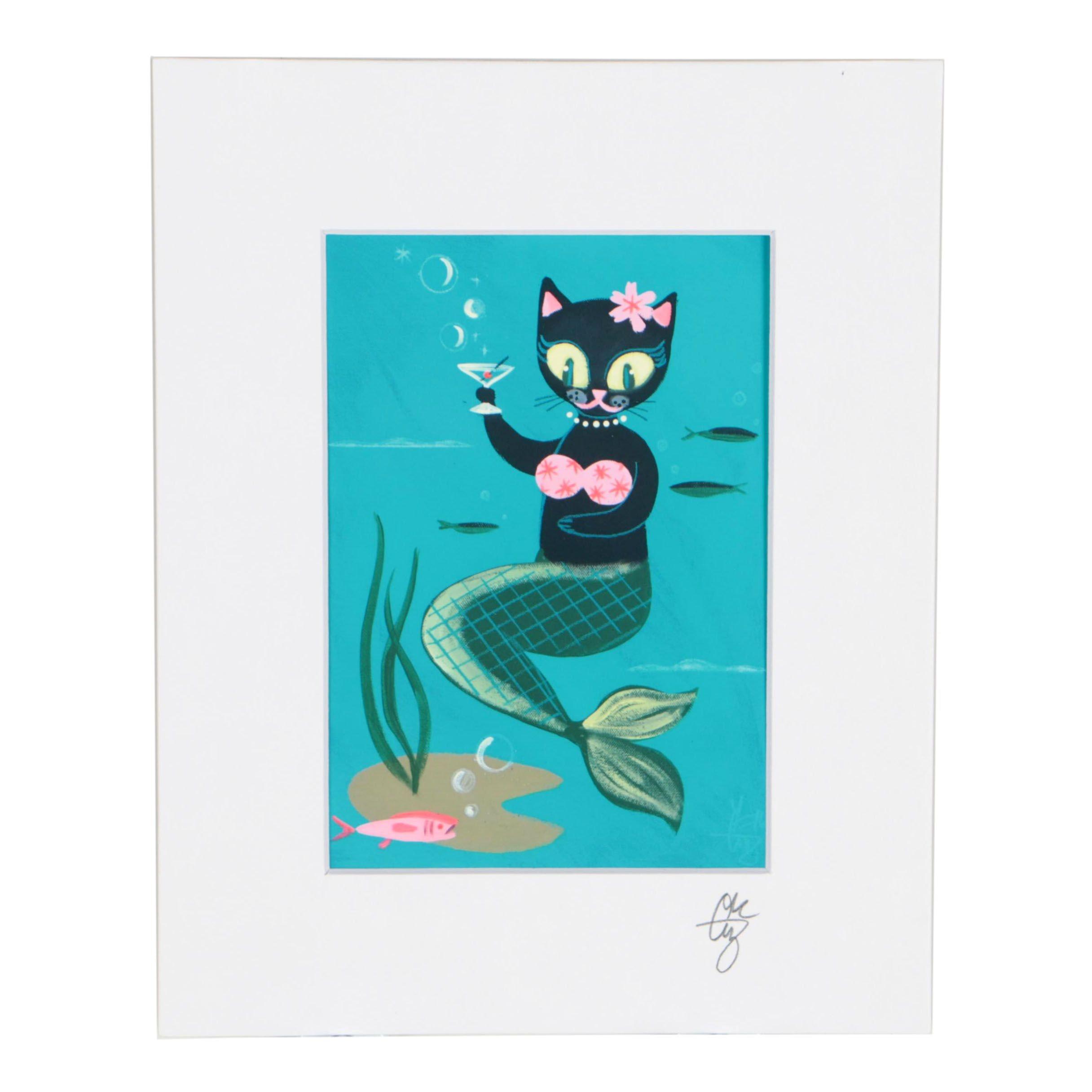 El Gato Gomez Signed Giclée Cat Mermaid with Martini